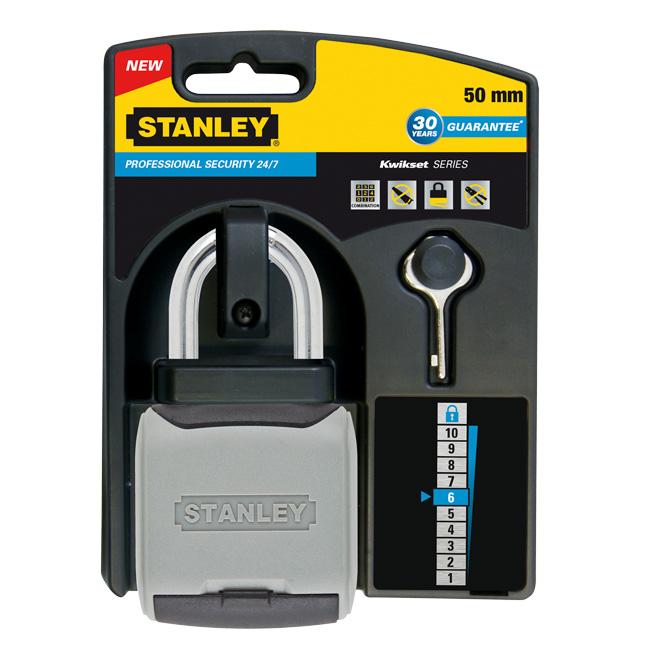 Кодовый замок Stanley удлиненная дужка, защита 24/7, 50 мм. S742-008S742-008Профессиоанльные замки 24/7