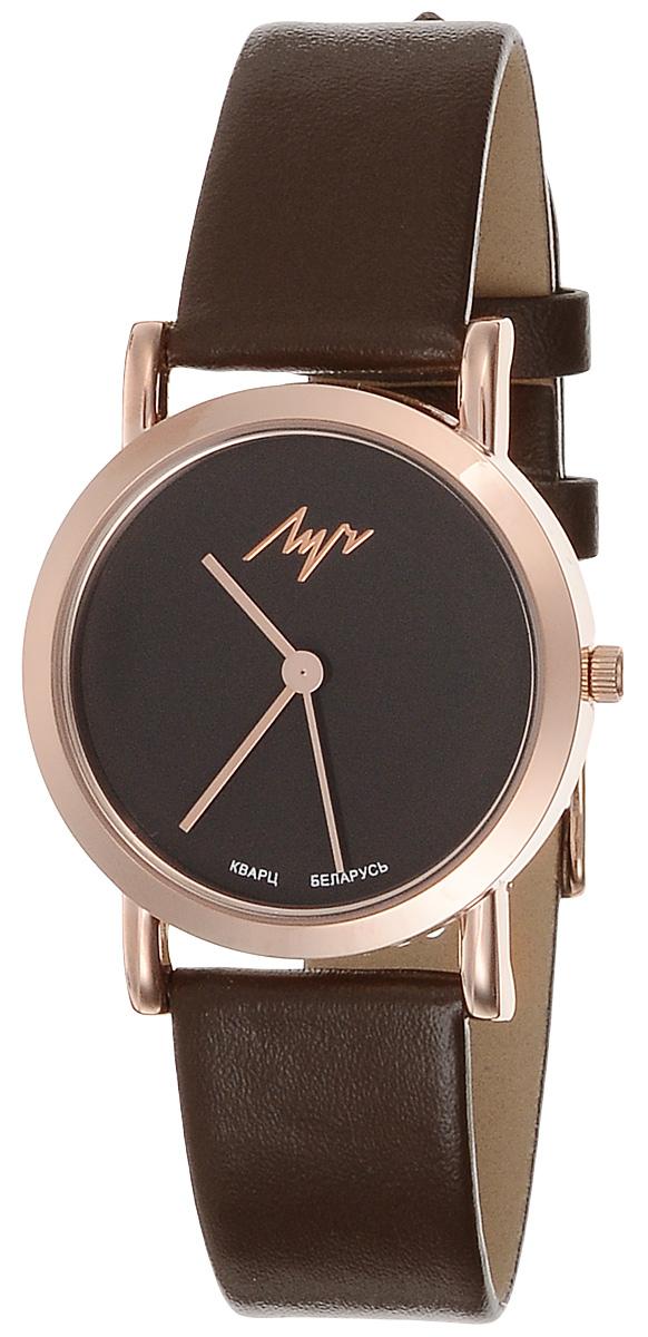 Часы наручные женские Луч Современная, цвет: золотой, коричневый. 729107274729107274Элегантные женские часы Луч Современная изготовлены из нержавеющей стали и минерального стекла. Корпус часов имеет степень влагозащиты равную 3 Bar, оснащен кварцевым механизмом Miyota, а также дополнен устойчивым к царапинам минеральным стеклом. Ремешок часов выполнен из натуральной кожи. Практичная пряжка, дополняющая ремешок, позволит с легкостью снимать и надевать часы. Часы поставляются в фирменной упаковке. Часы Луч Современная подчеркнут изящность женской руки и отменное чувство стиля у их обладательницы.