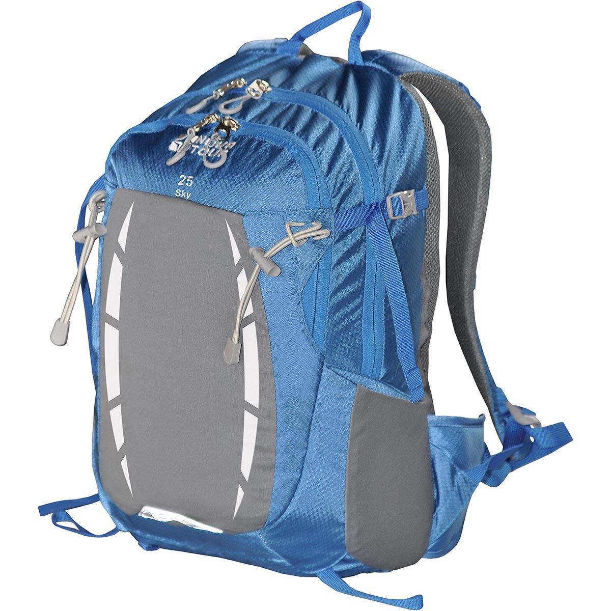 Рюкзак спортивный Nova Tour Скай 25, цвет: синий, 25 л95768-467-00Отделение для гидратора, карабин для ключей, карман с органайзером, эластичный фронтальный карман с переменным объемом.