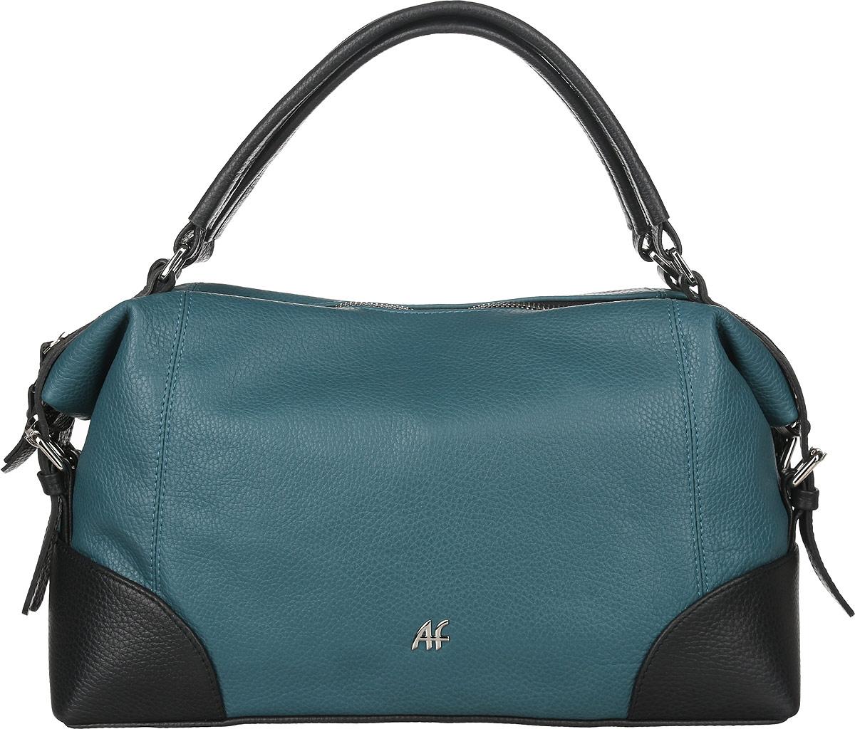 Сумка женская Afina, цвет: черный, темно-бирюзовый. 177177Стильная женская сумка Afina выполнена из натуральной кожи с фактурным тиснением. Изделие имеет одно основное отделение, закрывающееся на застежку-молнию. Внутри находятся два накладных открытых кармана и прорезной карман на застежке-молнии. Снаружи, на задней стенке расположен прорезной карман на застежке-молнии. Модель оснащена двумя удобными ручками. В комплект входит съемный регулируемый плечевой ремень. По бокам модель дополнена ремешками с металлическими пряжками. Роскошная сумка внесет элегантные нотки в ваш образ и подчеркнет ваше отменное чувство стиля.