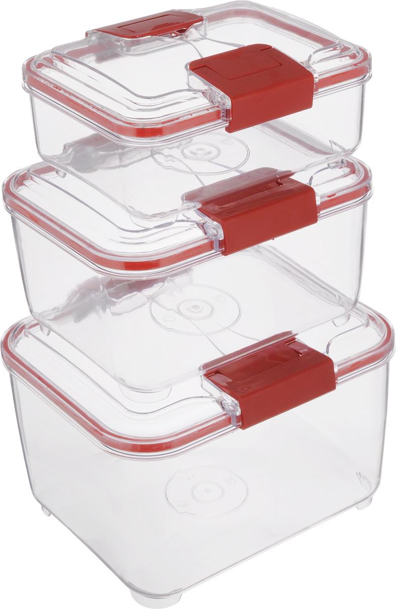 Набор контейнеров Status RC Set higer, цвет: красный, прозрачный, 3 штRC Set higer RedНабор контейнеров Status RC Set higer изготовлен из высококачественного пищевого пластика. Контейнеры безопасны для здоровья, не содержат BPA. Изделия имеют прямоугольную форму и оснащены плотно закрывающимися крышками. Прозрачные стенки позволяют видеть содержимое. Контейнеры закрываются при помощи двух защелок. Можно мыть в посудомоечной машине. Контейнеры подходят для использования в морозильной камере и СВЧ. В наборе три контейнера объемом 1 л, 2 л и 4 л. Размер контейнера 4 л: 24 х 20 х 15,5 см. Размер контейнера 2 л: 21 х 17 х 11,5 см. Размер контейнера 1 л: 18,5 х 15 х 7,5 см.