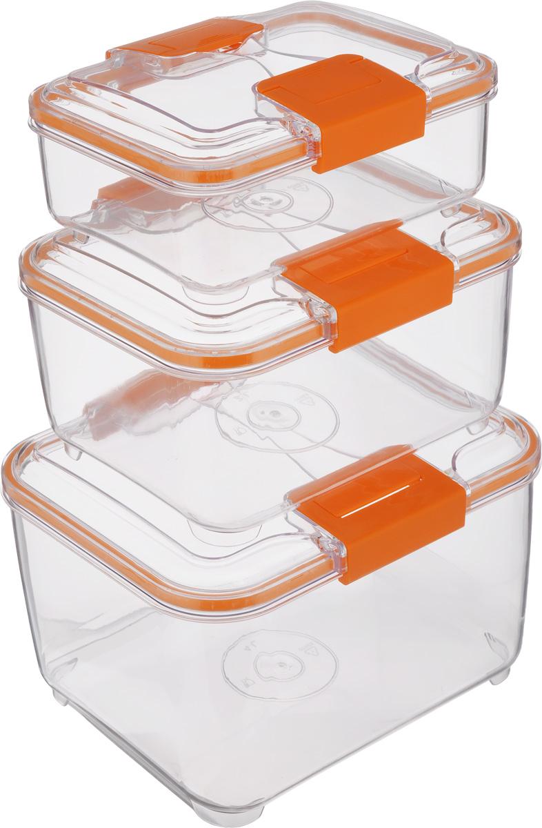 Набор контейнеров Status RC Set higer, цвет: оранжевый, прозрачный, 3 штRC Set higer OrangeНабор контейнеров Status RC Set higer изготовлен из высококачественного пищевого пластика. Контейнеры безопасны для здоровья, не содержат BPA. Изделия имеют прямоугольную форму и оснащены плотно закрывающимися крышками. Прозрачные стенки позволяют видеть содержимое. Контейнеры закрываются при помощи двух защелок. Можно мыть в посудомоечной машине. Контейнеры подходят для использования в морозильной камере и СВЧ. В наборе три контейнера объемом 1 л, 2 л и 4 л. Размер контейнера 4 л: 24 х 20 х 15,5 см. Размер контейнера 2 л: 21 х 17 х 11,5 см. Размер контейнера 1 л: 18,5 х 15 х 7,5 см.