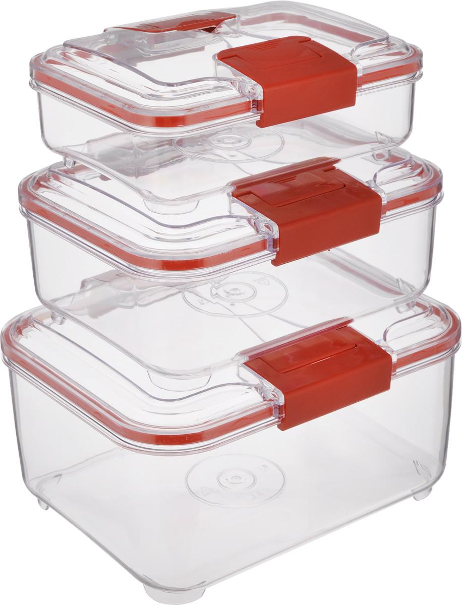Набор контейнеров Status RC Set lower, цвет: красный, прозрачный, 3 штRC Set lower RedНабор контейнеров Status RC Set lower изготовлен из высококачественного пищевого пластика. Контейнеры безопасны для здоровья, не содержат BPA. Изделия имеют прямоугольную форму и оснащены плотно закрывающимися крышками. Прозрачные стенки позволяют видеть содержимое. Контейнеры закрываются при помощи двух защелок. Можно мыть в посудомоечной машине. Контейнеры подходят для использования в морозильной камере и СВЧ. В наборе три контейнера объемом 0,75 л, 1,5 л и 3 л. Размер контейнера 3 л: 24 х 20 х 12,см. Размер контейнера 1,5 л: 21 х 17 х 10 см. Размер контейнера 0,75 л: 18,5 х 15 х 7,5 см.