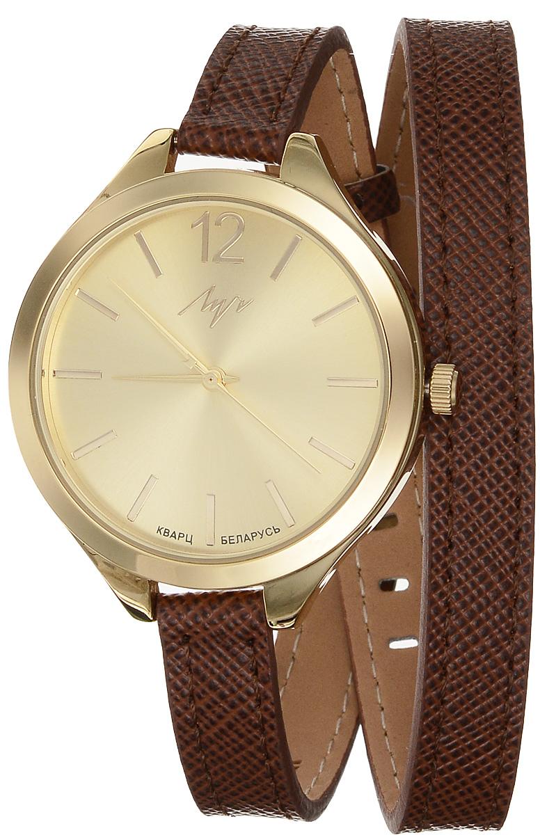 Часы наручные женские Луч Современная, цвет: золотой, коричневый. 729107276729107276Элегантные женские часы Луч Современная изготовлены из нержавеющей стали и минерального стекла. Циферблат часов оформлен символикой бренда. Корпус часов имеет степень влагозащиты равную 3 Bar, оснащен кварцевым механизмом Miyota, а также дополнен устойчивым к царапинам минеральным стеклом. Удлиненный ремешок часов выполнен из натуральной кожи с декоративным тиснением. Практичная пряжка, дополняющая ремешок, позволит с легкостью снимать и надевать часы. Часы поставляются в фирменной упаковке. Часы Луч Современная подчеркнут изящность женской руки и отменное чувство стиля у их обладательницы.