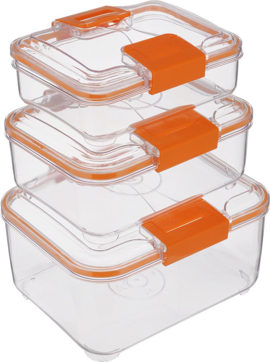 Набор контейнеров Status RC Set lower, цвет: оранжевый, прозрачный, 3 штRC Set lower OrangeНабор контейнеров Status RC Set lower изготовлен из высококачественного пищевого пластика. Контейнеры безопасны для здоровья, не содержат BPA. Изделия имеют прямоугольную форму и оснащены плотно закрывающимися крышками. Прозрачные стенки позволяют видеть содержимое. Контейнеры закрываются при помощи двух защелок. Можно мыть в посудомоечной машине. Контейнеры подходят для использования в морозильной камере и СВЧ. В наборе три контейнера объемом 0,75 л, 1,5 л и 3 л. Размер контейнера 3 л: 24 х 20 х 12,см. Размер контейнера 1,5 л: 21 х 17 х 10 см. Размер контейнера 0,75 л: 18,5 х 15 х 7,5 см.