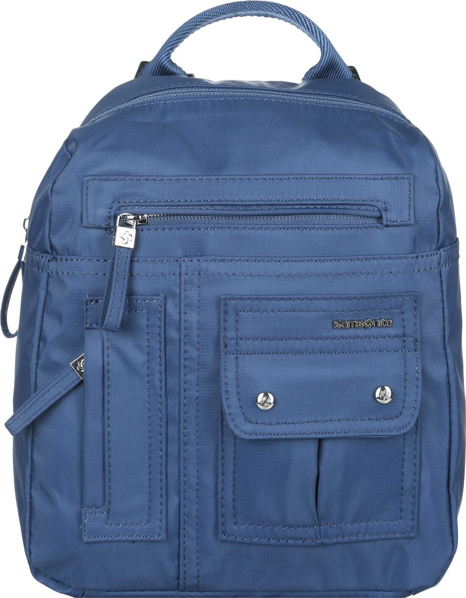 Рюкзак женский Samsonite, цвет: синий. 96V*2101496V*21014Стильный женский рюкзак Samsonite выполнен из полиамида. Изделие имеет одно основное отделение, закрывающееся на застежку-молнию. Внутри находятся два накладных открытых кармана и прорезной карман на застежке-молнии. Снаружи, на передней стенке расположены накладной карман, закрывающийся на клапан с магнитами и два прорезных кармана на застежках-молниях, на задней стенке - накладной карман на застежке-липучке. Модель оснащена регулируемыми лямками и удобной ручкой для переноски в руках. Стильный рюкзак позволит вам завершить образ и подчеркнет ваше отменное чувство стиля.