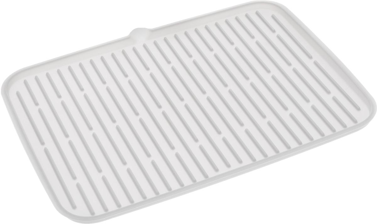Сушилка для посуды Tescoma Clean Kit, силиконовая, цвет: белый, 42 х 30 см900647Сушилка для посуды Tescoma Clean Kit, выполненная из гибкого силикона, защитит кухонную столешницу от влаги и прекрасно подойдет для хранения помытой посуды. Она оснащена рельефным дном, а также носиком для удобного выливания вода. Ваша посуда высохнет быстрее, если после мойки вы поместите ее на легкую, современную сушилку. Сушилка для посуды Tescoma Clean Kit станет незаменимым атрибутом на вашей кухне. Можно мыть в посудомоечной машине.