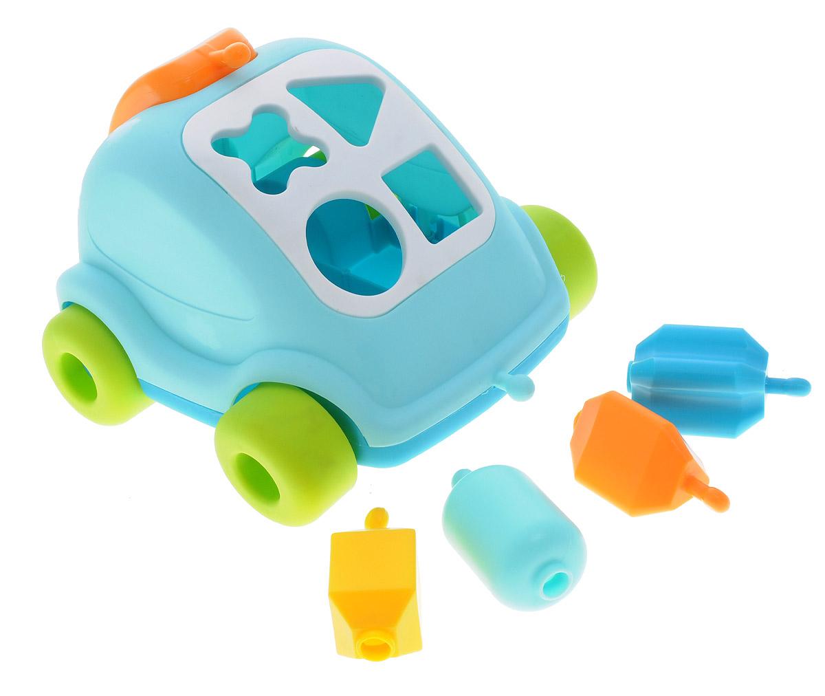 Smoby Развивающая игрушка Автомобиль с фигурками цвет голубой211323_голубойРазвивающая игрушка Smoby Автомобиль с фигурками не оставит малыша равнодушным. Игрушка познакомит ребенка с различными цветами и формами. Багажник машинки легко превращается в трубку телефона! Вот это чудеса техники! Каждую формочку необходимо опустить в соответствующее ей отверстие на корпусе машинки. А еще можно скрепить все формочки между собой и превратить машинку в каталку. Игрушка не имеет острых углов и мелких деталей, поэтому она абсолютно безопасна для малышей. В комплект входят наклейки, которыми можно украсить фигурки и автомобильчик. Машинка оснащена широкими устойчивыми колесами. Благодаря такой игрушке, ваш ребенок познакомится с цветами и формами, разовьет моторику рук и координацию движений.
