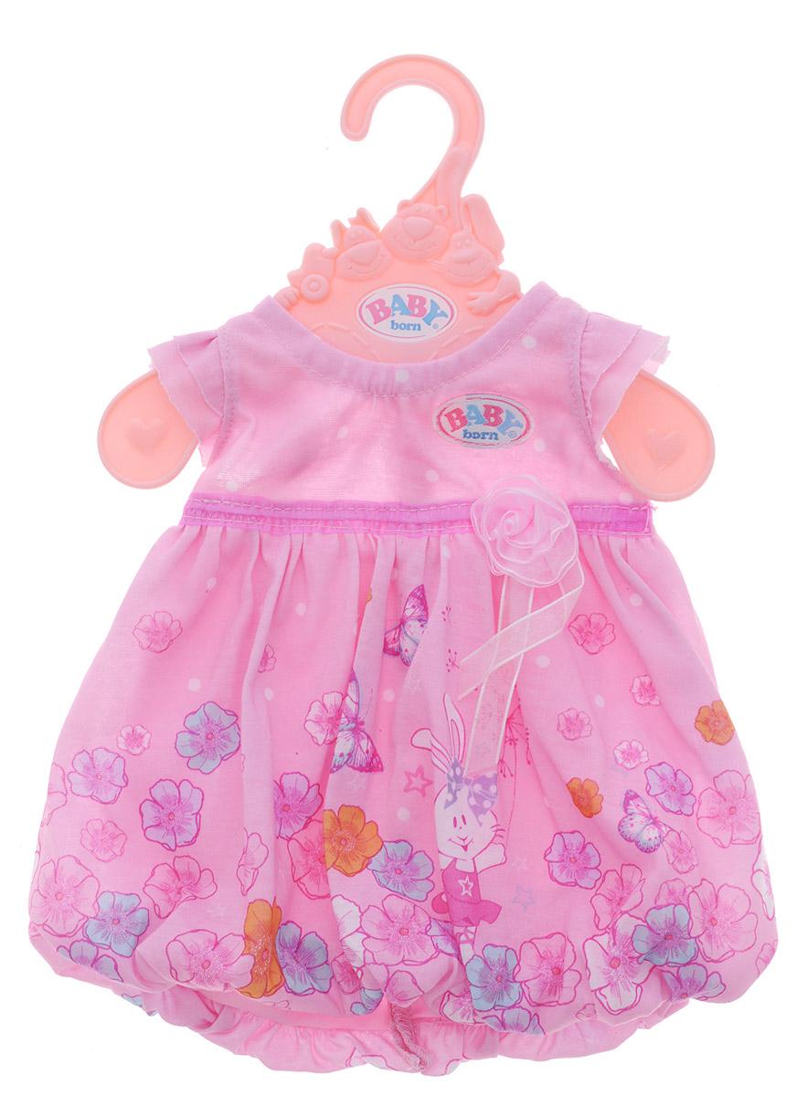 Baby Born Одежда для кукол Платье цвет розовый822-111Одежда для куклы Платье подходит ко всем куклам серии Baby Born высотой 43 см. Очаровательное легкое платьице с оборками выполнено из высококачественного текстиля, гипоаллергенного и полностью безопасного для здоровья ребенка. Все девочки очень любят переодевать своих кукол, создавая новые образы, а с наборами одежды Baby Born образы можно менять хоть каждый день.