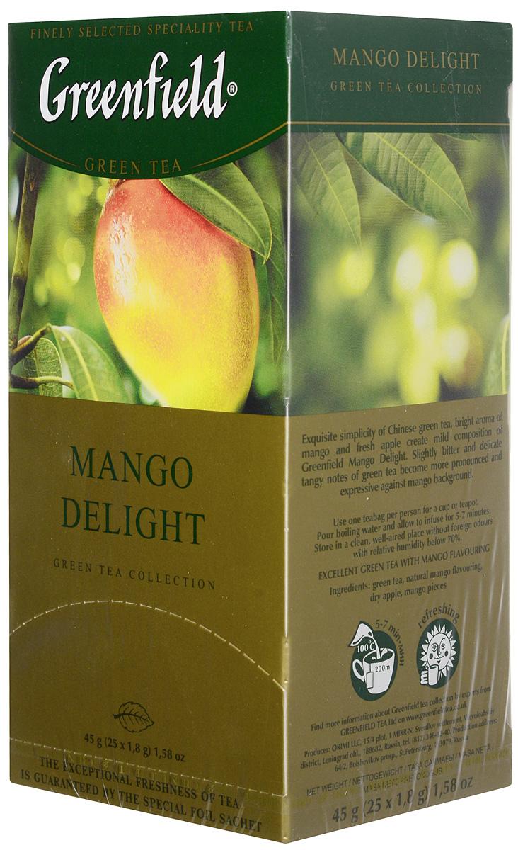 Greenfield Mango Delight зеленый неферментированный чай в пакетиках, 25 шт0655-10Изысканная лаконичность зеленого китайского чая, солнечный аромат манго и свежие яблочные ноты создают мягкую композицию Greenfield Mango Delight. Легкая горчинка и тонкие терпкие оттенки, характерные для зеленого чая, в Greenfield Mango Delight становятся ярче и выразительнее в обрамлении манговых нот.