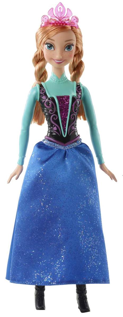 Disney Frozen Кукла Анна из АренделлаCJX74(CFB73/CFB81)Кукла Disney Frozen Анна из Аренделла способна очаровать кого угодно своей прекрасной внешностью. Кукла наряжена в сказочное платье, точно такое же, как и было на ней в мультфильме. Верхняя часть платья пластиковая, не снимается. Корсет украшен сверкающими блестками. Юбка сшита из текстиля, украшенного блестками. Волосы Анны длинные и светлые, заплетены в 2 косы. На голове куколки имеется красивая розовая диадема, а на ножках - черные сапожки. Руки и ноги у куклы подвижные, голова поворачивается. Личико прорисовано со всей тщательностью. Кукла Disney Frozen Анна из Аренделла - настоящая мечта всех, кто смотрел этот мультфильм, ведь в очаровательную принцессу невозможно не влюбиться!