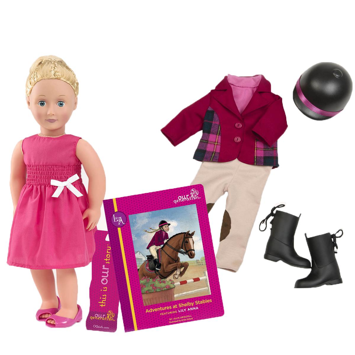 Our Generation Игровой набор с куклой Лили Анна и Приключения на конюшнях Шелби11503Игровой набор с куклой Our Generation Лили Анна и Приключения на конюшнях Шелби понравится любой девочке. Лили Анна очень любит лошадей и станет отличным другом для девочки, у которой похожие интересы. У Лили Анны есть множество аксессуаров и, конечно же, своя милая история, о которой ты можешь узнать из книжки, входящей в данный набор. Тело куколки Холли мягко-набивное, а голова, ноги и руки выполнены из винила. Данный материал нетоксичен и не вызывает аллергии. Набор выпускается с 2 полными комплектами одежды и множеством забавных аксессуаров. В комплект входит: кукла со сгибающимися ножками и ручками, розовое летнее платье, пара туфелек, бриджи для верховой езды, пара сапожек для верховой езды, футболка с воротничком-стоечкой, пиджачок, шлем для верховой езды, комплект нижнего белья, кувшин для лимонада, 2 стаканчика и 2 ломтика лимона, объявление о продаже лимонада, порядковый номер для соревнований по верховой езде, плакат о соревнованиях, призовая лента, книга с...