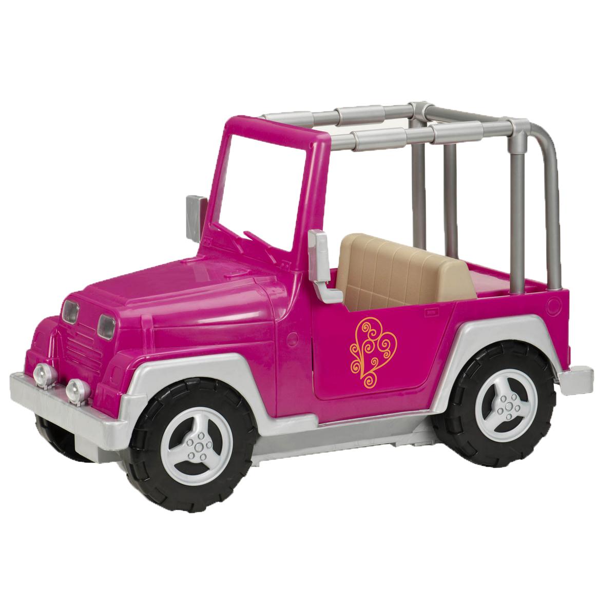 Our Generation Транспорт для кукол Джип11518Девочки путешествуют со стилем на ярком джипе Our Generation! Джип выполнен из прочного безопасного пластика розового цвета. Игрушка дополнена открывающимися дверями и подвижными колесами. Ваша малышка сможет катать свою куколку на этой великолепной машинке. Порадуйте ее таким замечательным подарком! Подходит для кукол высотой 46 см.