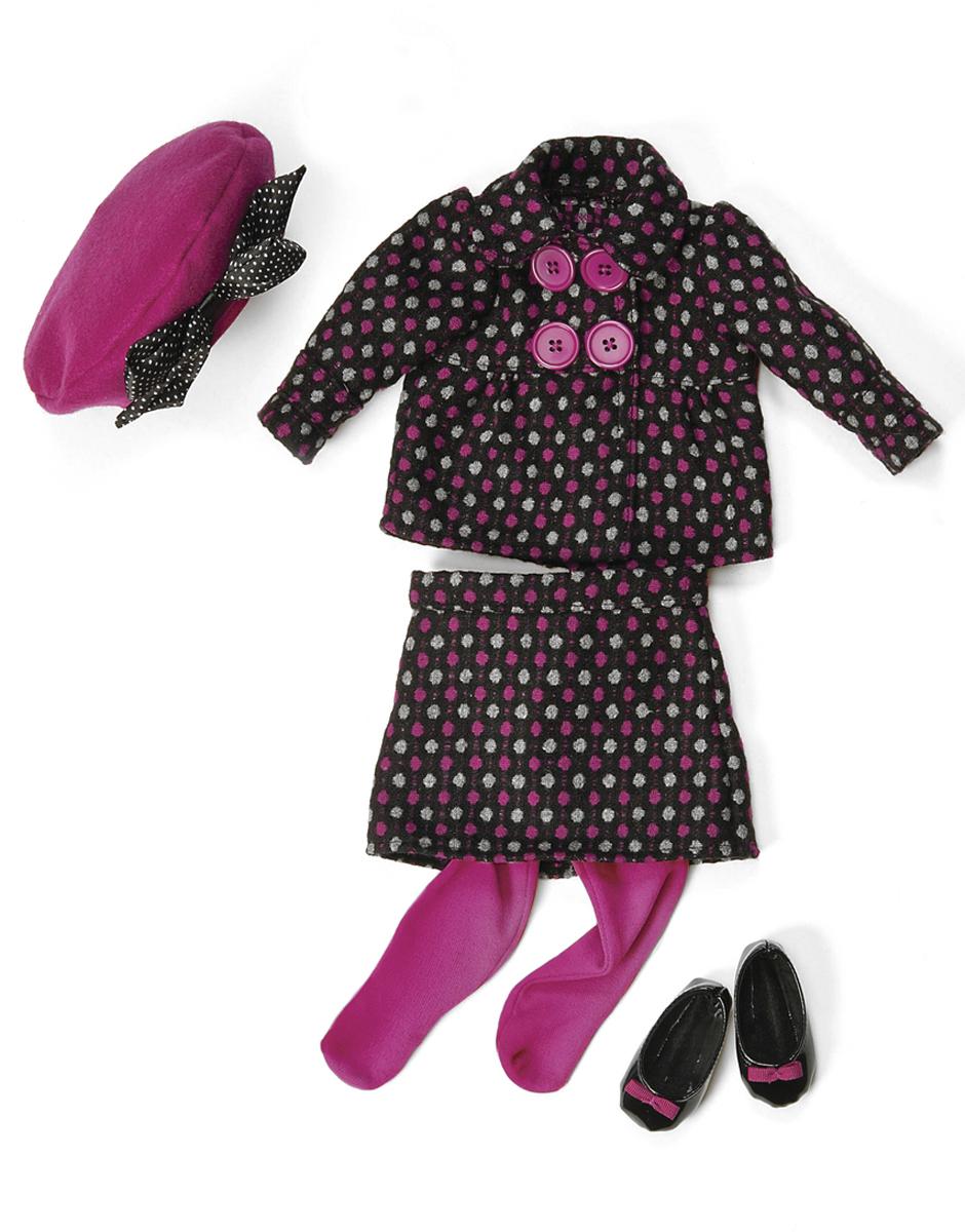 Our Generation Одежда для кукол Костюм в горошек берет колготки туфли11522Одежда делюкс для куклы 46см (Костюм в горошек, берет, колготки, туфли)