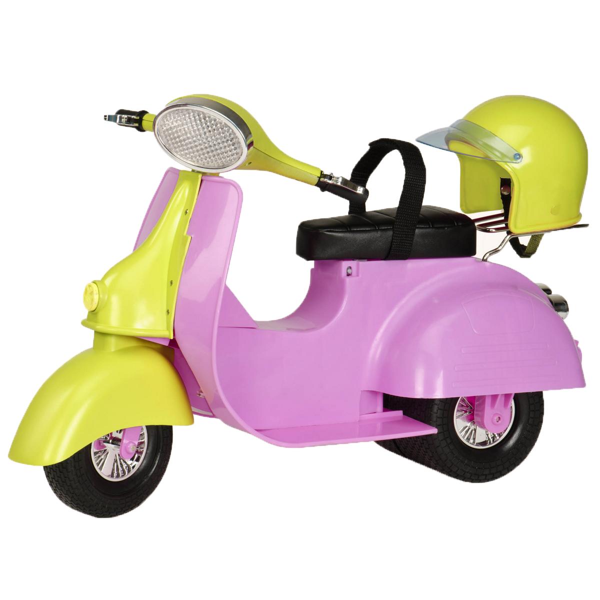 Our Generation Транспорт для кукол Скутер11526Девочки путешествуют со стилем на ярком скутере Our Generation! Скутер выполнен из прочного безопасного пластика розового цвета. Игрушка дополнена поворачивающимся рулем и ремешком для поддержки куколки. В комплект входит шлем желтого цвета для куколки. Ваша малышка сможет катать свою куколку на скутере. Порадуйте ее таким замечательным подарком! Подходит для кукол высотой 46 см.