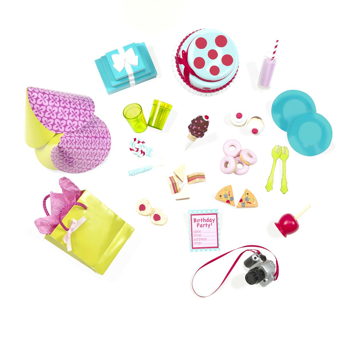 Our Generation Игровой набор для чаепития11559Игровой набор для чаепития Our Generation включает в себя: торт, поднос, 2 колпака, подарочный пакет, подарки в упаковке, пригласительный на день рождения, игрушечный фотоаппарат, 4 сэндвича, 2 куска пиццы, 2 вишневых пирожных, 4 пончика, 2 печенья в форме сердечек, мороженное рожок, леденец, конфета на палочке, яблоко в карамели, 2 тарелки, 2 чашки, 2 вилки, коктейль с соломкой, каталог модной одежды. Все элементы выполнены из прочного и полностью безопасного для ребенка материала. Время вечеринки! Все самое необходимое для празднования дня рождения. Ваша малышка сможет оформить сладкий стол по своему усмотрению, а также поухаживать за куклами, наливая им чай и раскладывая пирожные.
