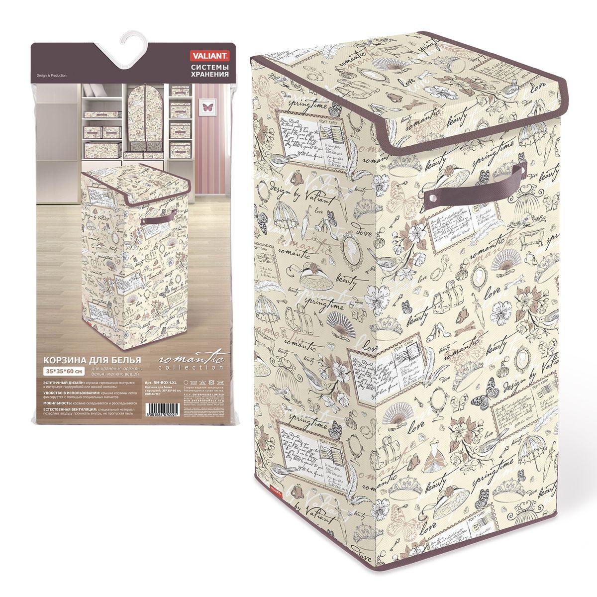 Корзина для белья Valiant Romantic, цвет: золотистый, коричневый, 35 х 35 х 60 смRM-BOX-LXLКорзина для белья Valiant Romantic изготовлена из нетканого материала и предназначена для сбора и хранения вещей перед стиркой. Компактная и легкая, она не занимает много места, аккуратно хранит белье. Изделие оснащено легкой крышкой. Корзина для белья Valiant Romantic со стильным дизайном гармонично смотрится в современном интерьере и станет незаменимым аксессуаром. Размеры: 35 х 35 х 60 см.