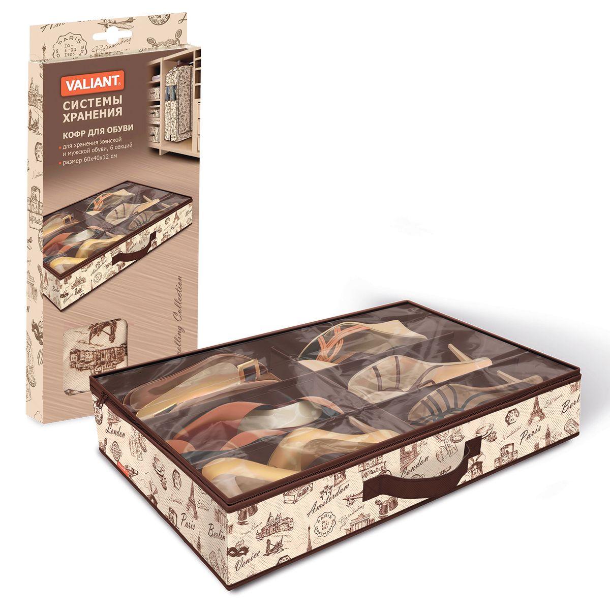 Кофр для хранения обуви Valiant Collection, 6 секций, 60 х 40 х 12 смTR-S6