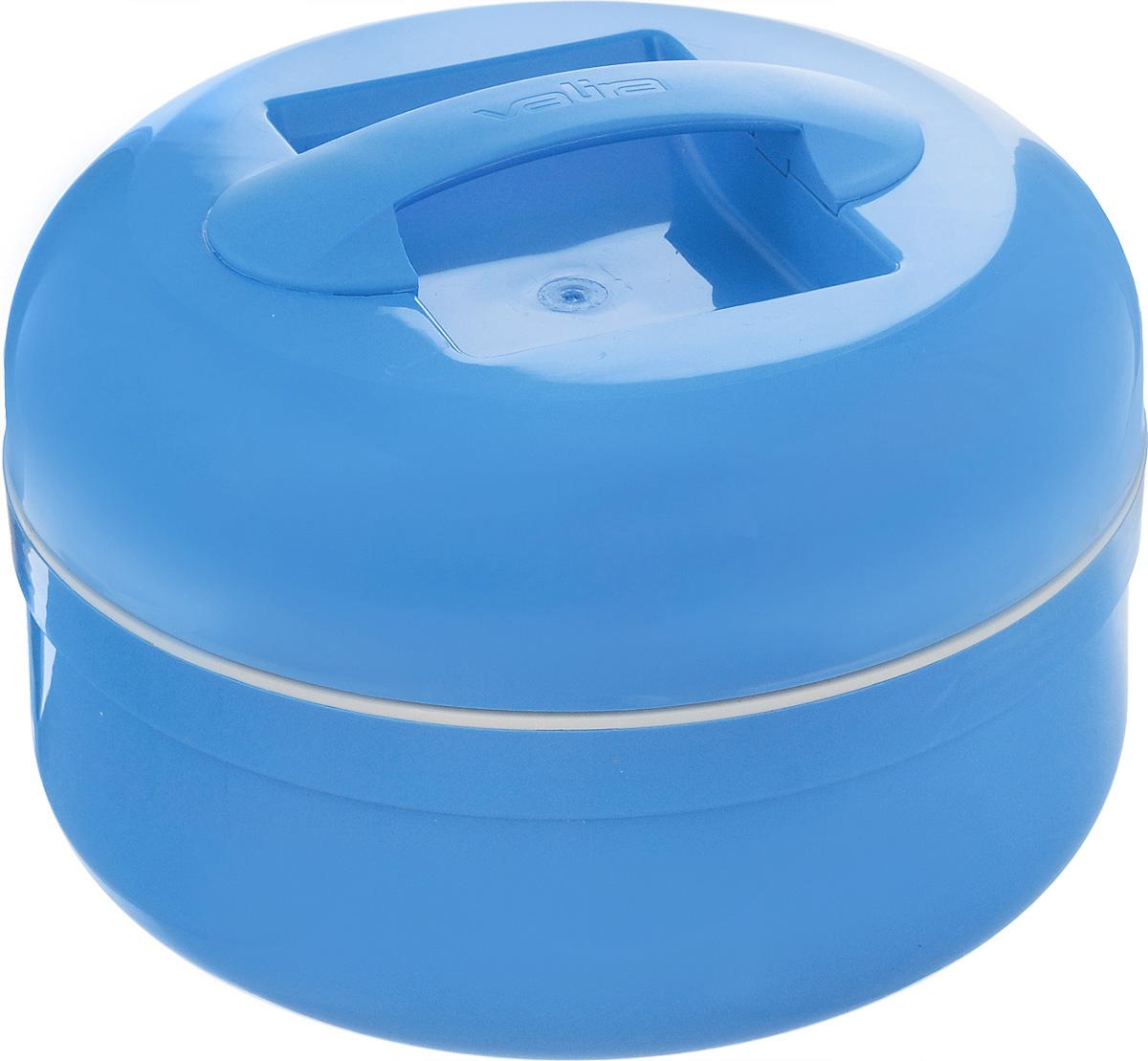 Термоконтейнер для еды Valira Thermic Food, цвет: голубой, 1,5 л6209/139Термоконтейнер Valira Thermic Food - это удобный и легкий термический контейнер для еды, который сохраняет температуру пищи до 6 часов. Контейнер выполнен из цветного пищевого пластика, внутри расположена стеклянная колба, а, как известно, стекло позволяет хранить тепло и холод лучше всех других материалов. Контейнер очень вместительный, в нем с легкостью поместится обед для всей семьи, также внутри можно хранить небольшие банки с напитками. Если нет возможности разогреть или сохранить температуру пищи, этот термоконтейнер будет вашим незаменимым помощником. Контейнер укомплектован съемной емкостью с крышкой. Герметично закрывается крышкой и имеет удобную ручку для переноски. Такой контейнер - прекрасное решение для отдыха на природе. Диаметр съемной емкости: 19 см. Высота съемной емкости: 4,2 см.