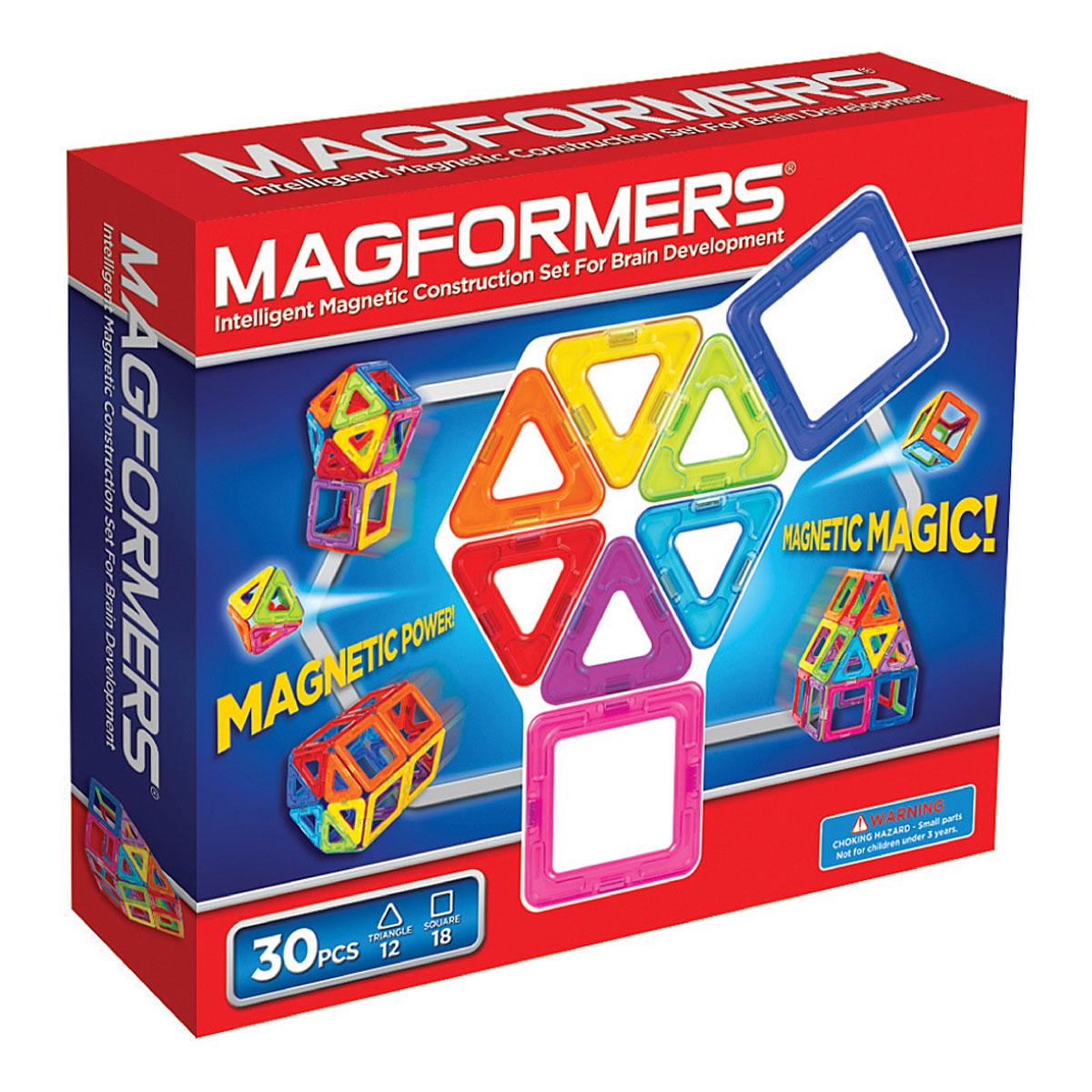 Magformers Магнитный конструктор Набор радуга63076С Magformers Rainbow 30 ребёнок в игровой форме изучает различные цвета, что очень важно для восприятия окружающего мира. А в этом наборе вы найдёте все цвета радуги, как вы уже поняли из названия. В комплект входит 30 деталей - это квадраты и треугольники. Количество элементов позволяет собирать довольно сложные постройки - домики, небольшие замки, волшебный шар, очень любимый всеми детьми и ещё много всего. Мальчишки могут создать ракету или гараж, девчонкам будет интересно попробовать себя в качестве творца, например, кроватки для своей любимой куклы или необычной дизайнерской сумочки. Каждый может почувствовать себя модельером и придумать необычный головной убор, будь то смешная шапка, шлем или пионерская пилотка. Набор идеально для этого подойдет - все детали разноцветные и их количества абсолютно точно хватит для того, чтобы проявить фантазию. Набор в красочной упаковке. Это прекрасный подарок ребенку!