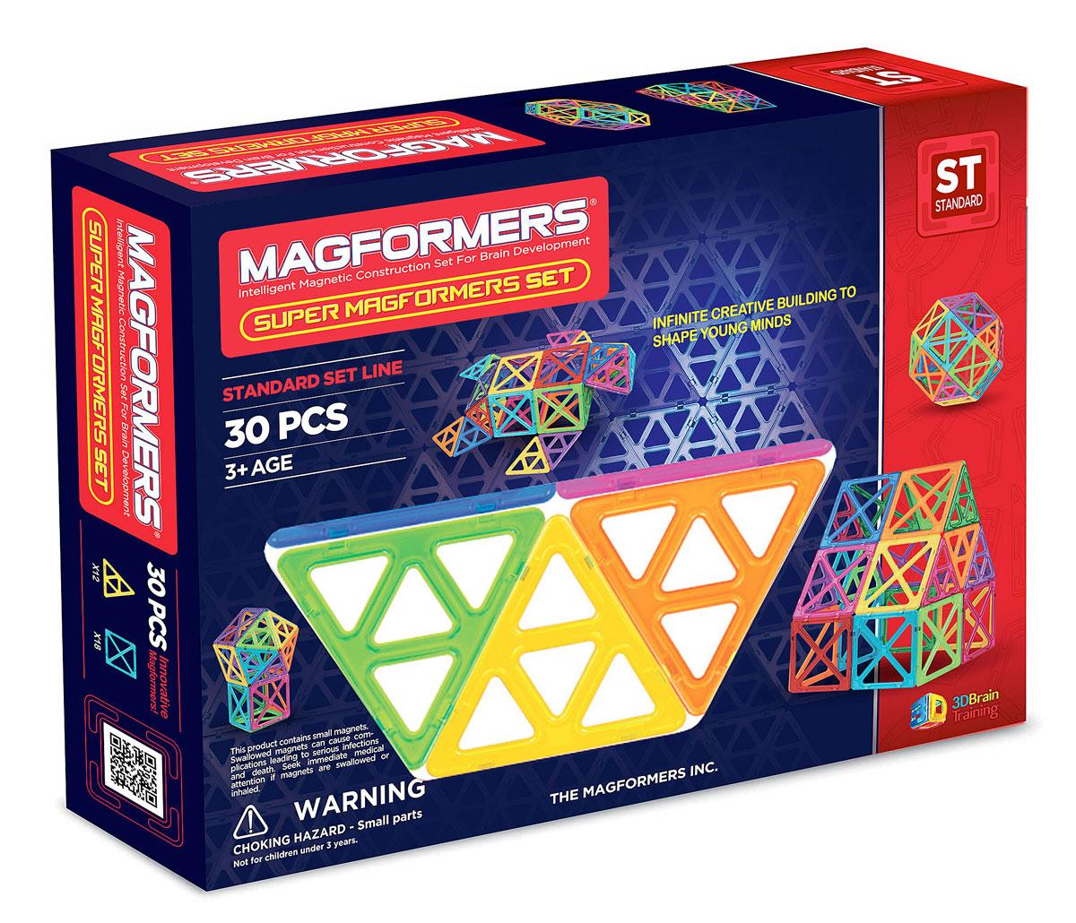 Magformers Магнитный конструктор Набор Супер - 3063078Набор Super Magformers 30 оправдывает своё название. Он состоит из супер квадратов и супер треугольников. Все привычные постройки станут намного больше! Набор состоит из 30 деталей: 12 супертреугольников и 18 суперквадратов. В один большой квадрат помещаются 4 обычных, а в один большой треугольник 4 обычных треугольника. Только представьте, что все стандартные постройки Вашего малыша увеличатся в размере в четыре раза! Без сомнения, набор понравится любому ребенку, ведь так интересно построить башню, которая будет ростом с него, или огромный шар. Ну, и ещё очень важная вещь - без этих громадных фигур Вашему ребенку не построить заветную Эйфелеву башню. Набор станет прекрасным подарком любому ребёнку. Все детали в конструкторах Magformers совместимы, независимо от размера, что позволяет делать интересные комбинации с другими наборами Magformers.
