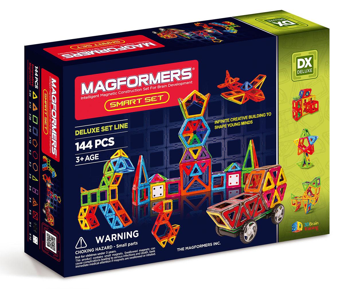Magformers Магнитный конструктор Smart Set63082/710001Набор Magformers Smart Set состоит из 144 элементов. Такое количество деталей предоставляет огромный спектр возможностей по созданию всего того, на что способна фантазия вашего малыша — от простых построек детишек помладше до сложнейших больших конструкций ребят более старшего возраста. В составе данного набора много стандартных базовых деталей — треугольников и квадратов. Уже только с их помощью вы сможете делать шары, башни, домики, замки... А уж если добавить остальные имеющиеся детали, то возможности Magformers становятся практически безграничными! Платформы с колесами, входящие в состав набора, позволяют собирать различные машины. Вставки в квадраты предназначены для украшения построек, и, заодно, могут помочь Вашему ребенку изучить счет. А также с их помощью полые постройки могут обрести стены. Также в этот набор входят суперквадраты и супертреугольники, которые так любят дети. Они по размеру в 4 раза превышают обычные, и постройки с их использованием сразу...