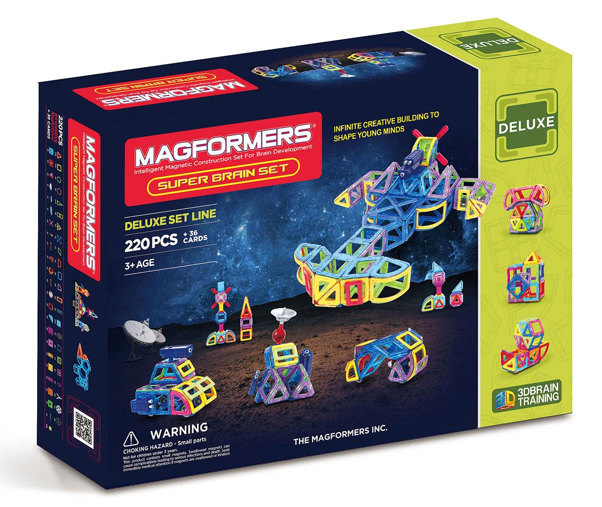 Magformers Магнитный конструктор Super Brain Up Set63088В состав Magformers Super Brain Set, помимо стандартных элементов, входят арки, сектора, маленькие прямоугольники, суперпрямоугольники, специальные аксессуары. Это кардинально новый подход к строительству машин, самолетов, вертолетов и межпланетных кораблей. Magformers Super Brain Set объединяет почти все основные средние наборы! Итак, что же можно сконструировать, используя элементы этого набора? Карусель — в составе есть специальное основание и крепление для карусели. Причем карусель будут подвижной: в ней можно катать пассажиров, ведь в набор входят фигурки мальчика и девочки, которые закреплены на специальных креслах и помещены в квадраты. вы сможете делать не только машины, но и различную строительную технику. В набор входит подвижная фигурка строителя, специальные блоки, шарниры и крепления, которые позволят сделать настоящий трактор с ковшом или подъемный кран с веревочным блоком. Мир авиации, военной техники и космических станций, ракет и прочего будет также доступен...