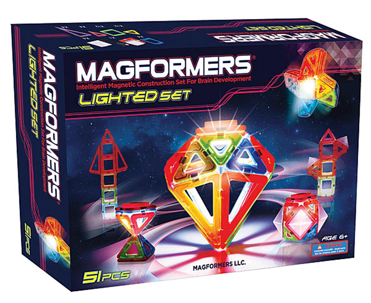 Magformers Магнитный конструктор Lighted Set709001Magformers Lighted Set - фантастический набор, в который входят такие редкие детали, как миниарка и минисектор, уникальный элемент со светодиодной подсветкой и светорассеивающие пирамиды. Сказочные кристаллы и цветы, космические ракеты и волшебные замки, завораживающий подводный мир и ночной город - все это теперь можно построить и осветить 7-ю различными цветами! Набор идеален и как первый магнитный конструктор у Вас дома, и как развитие Вашей коллекции Magformers. Ведь все наши детали на 100% совместимы друг с другом. Ну а красивая, яркая коробка делает Magformers Lighted Set превосходным подарком. Набор Magformers Lighted Set получил заслуженную награду — ассоциацией Oppenheim Toy Portfolio ему была присуждена платиновая медаль за 2013 год. Oppenheim Toy Portfolio — независимый и некоммерческий обозреватель, с 1989 года тестирующий лучшие товары для детей. Отобранные игрушки проходят тройную экспертизу. В качестве экспертов выступают педагоги и детские...