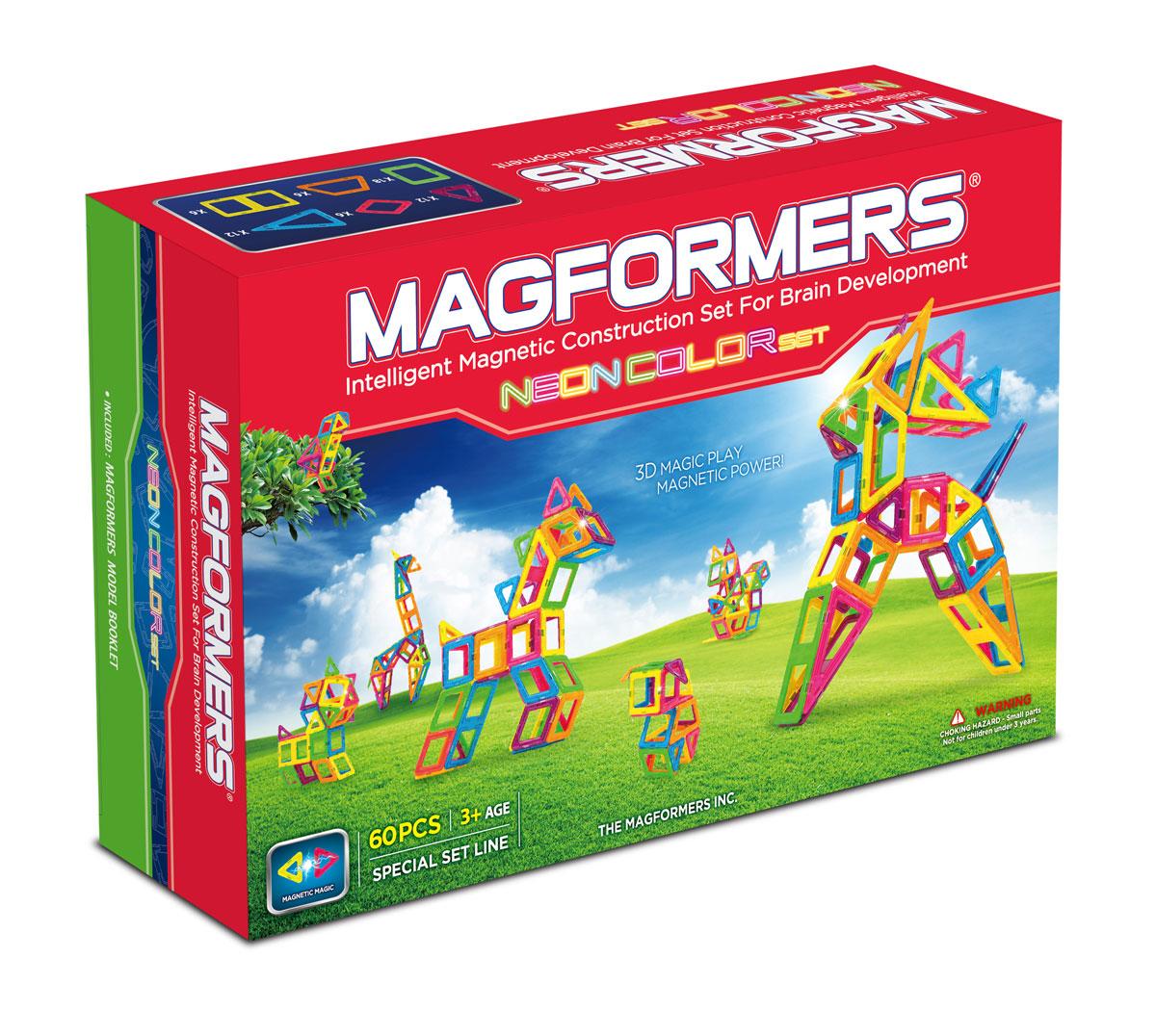 Magformers Магнитный конструктор Neon Color Set 60