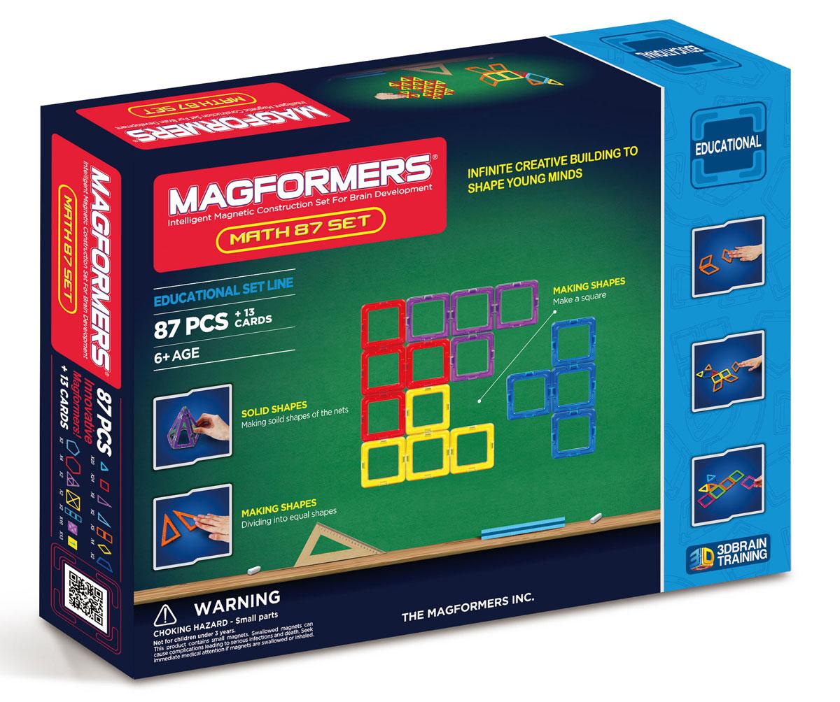 Magformers Магнитный конструктор Увлекательная Математика63109Набор является облагороженной версией суперпопулярного у юных математиков и их родителей набора Magformers Увлекательная математика старой версии. Комплектуется Учебным пособием Magformers. Содержит необходимые элементы для решения всех приведенных в пособии задач. С его помощью ваш ребенок в игровой форме: Познакомится с основными геометрическими формами, делением их на части и составлением новых; Начнёт изучать цифры и арифметические действия, последовательности и дроби, сложение нескольких цифр; Откроет для себя мир симметрии, геометрических последовательностей и закономерностей; Научится создавать простые и сложносоставные трехмерные фигуры, раскладывать их на плоскости и строить проекции. Magformers Увлекательная математика идеально подходит для детского сада и начальной школы!