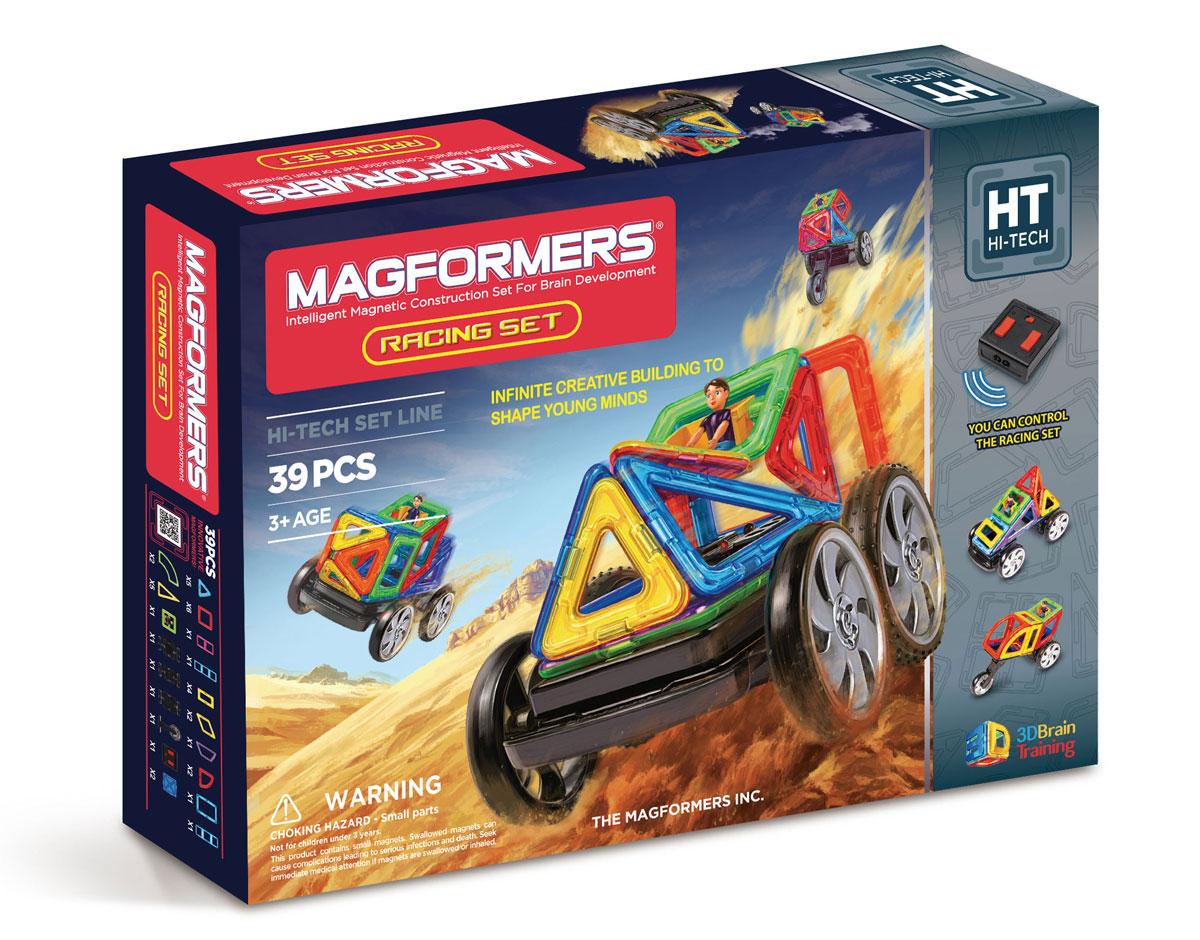 Magformers Магнитный конструктор Racing Set63131Magformers Racing Set — это Magformers на дистанционном управлении! В этот великолепный набор входит большое количество стандартных элементов Magformers, но также и новые детали: суперарка, суперсектор и суперпрямоугольник. Также вы найдёте здесь пульт дистанционного управления и все ваши удивительные постройки из Магформерс обретут жизнь в движении! Помимо этого в набор входят различные виды колёс, среди которых редкое мотоциклетное колесо, встречавшееся до этого только в Magformers Mega Brain Set. Набор Magformers Racing Set идеален и как развитие вашей коллекции Магформерс, и как первый конструктор Магформерс у вас дома. Ведь все детали Magformers на 100% совместимы друг с другом! Обращаем ваше внимание, что наборы Магформерс предназначены для детей старше 3-х лет. Дети меньшего возраста тоже с удовольствием играют в Магформерс, но только вместе с родителями!