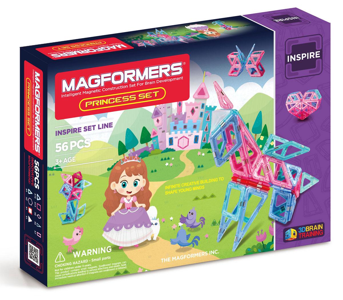 Magformers Магнитный конструктор Princess Set63134Набор Magformers Princess Set— лучший подарок для маленьких принцесс! Все детали исполнены в нежных пастельных тонах, которые так нравятся девочкам. Набор включает в себя светодиодную подсветку и светорассеивающую пирамидку. С их помощью замок, принцессы заиграет сказочными огнями, бабочки, цветы или единорог станут поистине волшебными. Обращаем ваше внимание, что наборы Магформерс предназначены для детей старше 3-х лет. Дети меньшего возраста тоже с удовольствием играют в Магформерс, но только вместе с родителями!