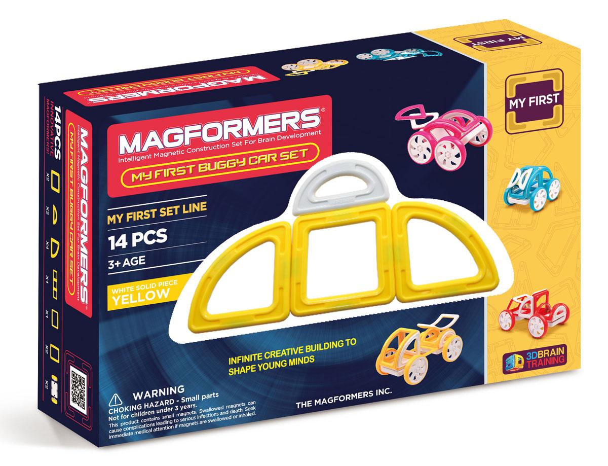 Magformers Магнитный конструктор My First Buggy цвет желтый63144Набор Magformers My First Buggy Car Set из серии Мой Первый Магформерс отлично подойдет для начала знакомства с развивающим конструктором! Он включает в себя великолепно иллюстрированные карточки, которые познакомят Вас с принципами конструирования из Магформерс и покажут, как собрать разнообразные машинки Багги — для передвижения по песчаным прибрежным дюнам, для гонок по бездорожью или по пересеченной местности. Детали выполнены в ярких тонах: желтый, голубой, красный и розовый с одной стороны и белый цвет с другой стороны. Необычные приключения ждут с новым набором Magformers My First Buggy Car Set.