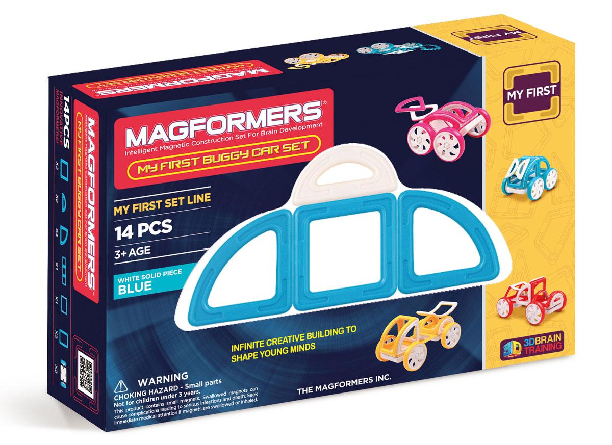 Magformers Магнитный конструктор My First Buggy цвет синий63146Набор Magformers My First Buggy Car Set из серии Мой Первый Магформерс отлично подойдет для начала знакомства с развивающим конструктором! Он включает в себя великолепно иллюстрированные карточки, которые познакомят Вас с принципами конструирования из Магформерс и покажут, как собрать разнообразные машинки Багги — для передвижения по песчаным прибрежным дюнам, для гонок по бездорожью или по пересеченной местности. Детали выполнены в ярких тонах: желтый, голубой, красный и розовый с одной стороны и белый цвет с другой стороны. Необычные приключения ждут с новым набором Magformers My First Buggy Car Set.