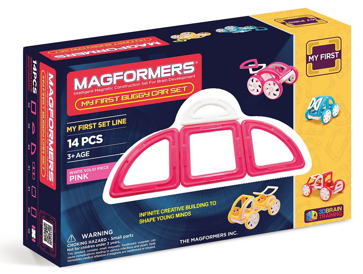 Magformers Магнитный конструктор My First Buggy цвет розовый63147Набор Magformers My First Buggy Car Set из серии Мой Первый Магформерс отлично подойдет для начала знакомства с развивающим конструктором! Он включает в себя великолепно иллюстрированные карточки, которые познакомят Вас с принципами конструирования из Магформерс и покажут, как собрать разнообразные машинки Багги — для передвижения по песчаным прибрежным дюнам, для гонок по бездорожью или по пересеченной местности. Детали выполнены в ярких тонах: желтый, голубой, красный и розовый с одной стороны и белый цвет с другой стороны. Необычные приключения ждут с новым набором Magformers My First Buggy Car Set.