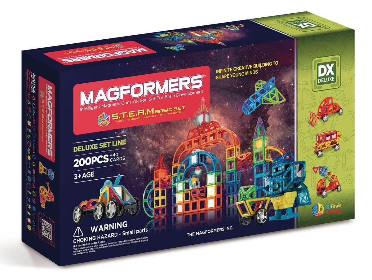 Magformers Магнитный конструктор S.T.E.A.M. Basic60507Наборы Steam Basic Set и Steam Master Set — долгожданное развитие линейки больших наборов Магформерс. Эти конструкторы включают в себя огромное количество разнообразных геометрических форм и аксессуаров, как давно полюбившихся, так и совершенно новых. Среди новых магнитных элементов отдельного внимание заслуживают объемные формы — часть сферы, часть конуса, арка и суперарка с ними ваши фантазии воплотятся в самые невероятные и неповторимые постройки. А новые двигатели, светодиоды, элементы вращения, колеса и даже платформа для создания робота приведут весь ваш мир Магформерс в движение. Обращаем ваше внимание, что наборы Магформерс предназначены для детей старше 3-х лет. Дети меньшего возраста тоже с удовольствием играют в Магформерс, но только вместе с родителями!