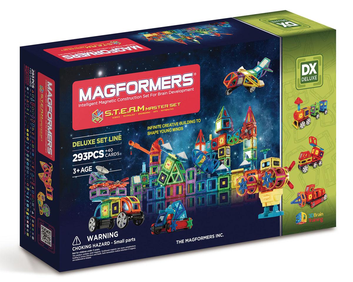 Magformers Магнитный конструктор S.T.E.A.M. Master60506Наборы Steam Basic Set и Steam Master Set — долгожданное развитие линейки больших наборов Магформерс. Эти конструкторы включают в себя огромное количество разнообразных геометрических форм и акссесуаров, как давно полюбившихся, так и совершенно новых. Среди новых магнитных элементов отдельного внимание заслуживают объемные формы — часть сферы, часть конуса, арка и суперарка с ними ваши фантазии воплотятся в самые невероятные и неповторимые постройки. А новые двигатели, светодиоды, элементы вращения, колеса и даже платформа для создания робота приведут весь ваш мир Магформерс в движение. Steam Basic Set содержит 200 различных элементов, Steam Master Set 293 элемента и богат эксклюзивными аксессуарами.
