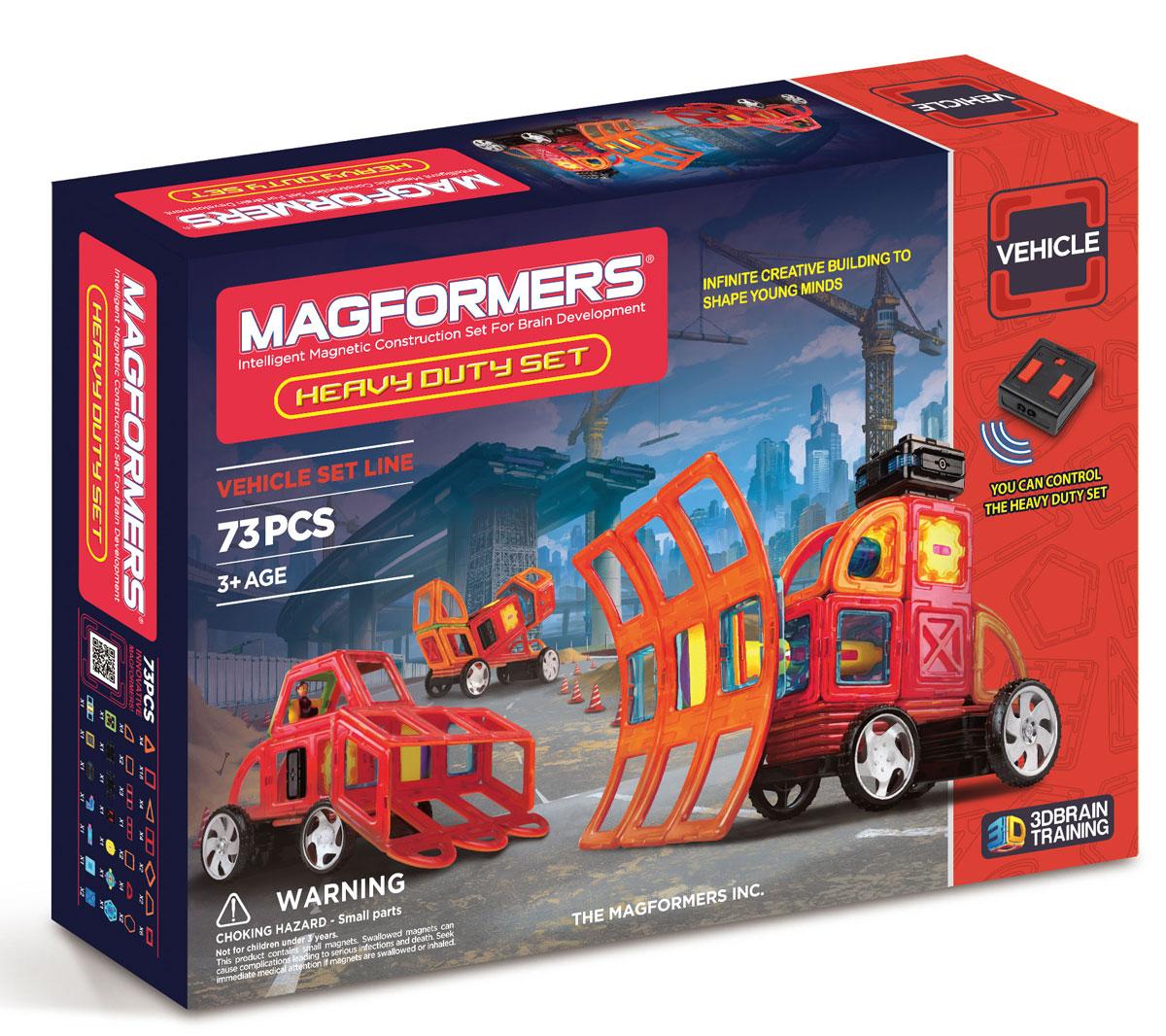 Magformers Магнитный конструктор Heavy Duty Set63139Набор Heavy Duty Set содержит основные магнитные формы Магформерс, а также аксессуары — колеса, пульт дистанционного управления, источник питания, элементы вращения. С набором Heavy Duty Set вы сможете создавать технически сложные модели специальных служб. Обращаем ваше внимание, что наборы Магформерс предназначены для детей старше 3-х лет. Дети меньшего возраста тоже с удовольствием играют в Магформерс, но только вместе с родителями!