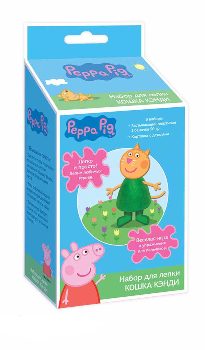 Peppa Pig Набор для лепки Котенок Кэнди28652С набором для лепки Peppa Pig малыши легко смогут создать Котенка Кэнди из любимого мультфильма Свинка Пеппа. Скатайте из пластилина конус, вставьте в него голову, ручки, ножки и хвостик - ура, фигурка Кэнди готова! Оставьте ее на воздухе на несколько часов: она засохнет, и с ней можно будет играть, как с настоящей игрушкой! А теперь лепите пластилиновые лепешечки и формочкой на крышке выдавливайте героя мультфильма. Во время такого интересного занятия ребята активно тренируют пальчики, развивают воображение, цветовое и тактильное восприятие. В наборе для лепки Котенок Кэнди ТМ Peppa Pig: 1 баночка застывающего пластилина (50 г) с крышкой в виде формочки героя мультфильма, 1 карточка с картонными деталями для лепки Кэнди. Пластилин обладает отличными пластичными свойствами, не липнет к рукам, не пачкается, застывает на воздухе за несколько часов.