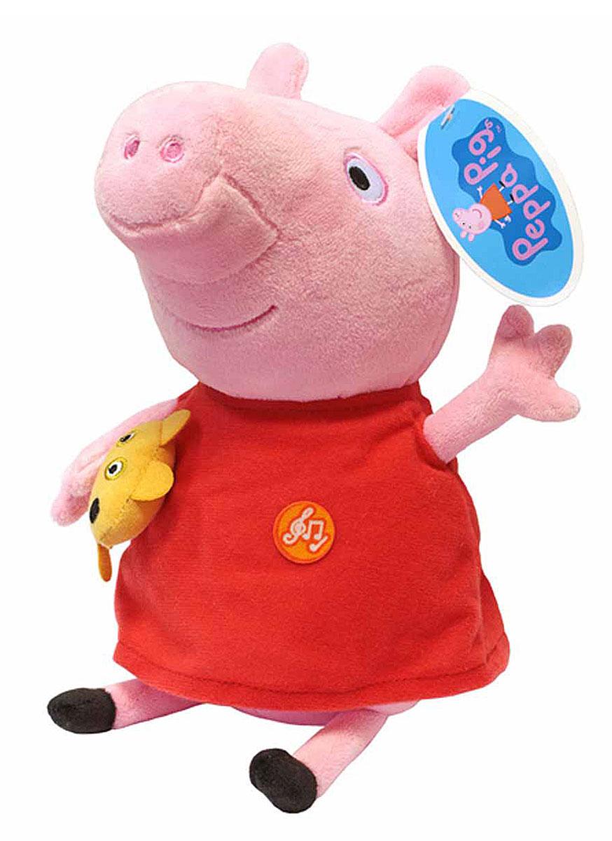 Peppa Pig Мягкая игрушка Пеппа 30 см30117Что может быть лучше мягкого плюшевого друга? Только плюшевая героиня любимого мультфильма. Свинка Пеппа из одноименного анимационного сериала - как раз то, что нужно. Она мягкая и необыкновенно приятная на ощупь, так что обнимать Пеппу - одно удовольствие. Нажмите на животик, чтобы услышать музыкальное приветствие, 2 забавных стишка и веселую песенку из мультфильма. С такой очаровательной подругой малютке и играть весело, и спать сладко. Игра с Пеппой активно развивает у малыша воображение, тактильное восприятие и коммуникативные навыки. А если приобрести другие игрушки из серии Peppa Pig, то ваш ребенок сможет оживить приключения любимых персонажей прямо у вас дома! Мягкая озвученная игрушка Пеппа с игрушкой ТМ Peppa Pig имеет высоту 30 см (размер указан с ножками), изготовлена из мягкой, приятной на ощупь велюровой ткани, плотно набита. Глаза и рот вышиты, под лапкой - медвежонок. Игрушка работает от 4 батареек типа AG13 или LR44. Товар сертифицирован.