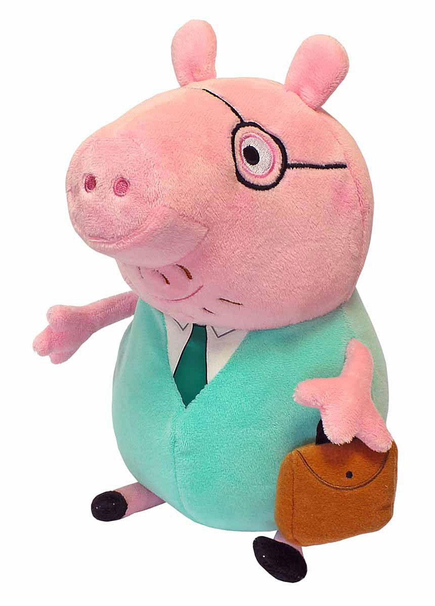 Peppa Pig Мягкая игрушка Папа Свин с кейсом 30 см30292Обаятельная мягкая игрушка Папа Свин с кейсом - это отличный подарок для вашего малыша. С ней можно весело играть днем и сладко спать ночью. А чтобы ваш маленький фантазер по-настоящему оживил приключения своих любимых героев, вы можете приобрести других персонажей из серии Peppa Pig. Мягкая игрушка Папа Свин с кейсом ТМ Свинка Пеппа высотой 30 см (размер указан с ножками) качественно сшита из мягкого, приятного на ощупь плюша, плотно набита. Глаза и рот вышиты, на рубашке - галстук, а в руке - кейс. Увлекательная игра с новым другом активно развивает у малыша воображение, тактильное восприятие и коммуникативные навыки.