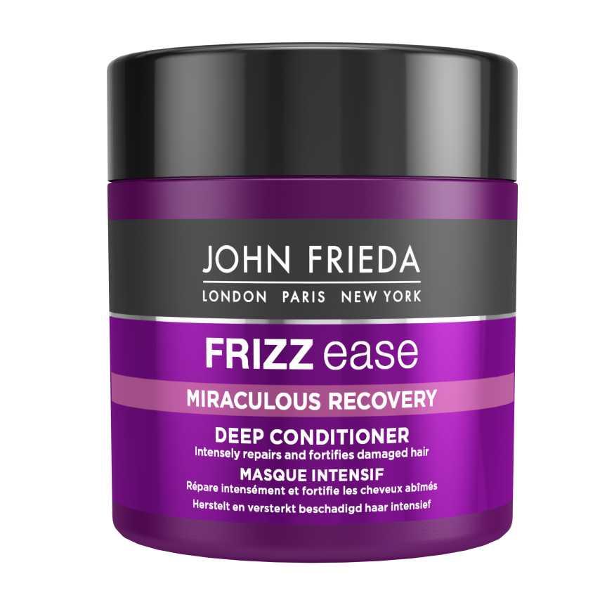 John Frieda Frizz Ease Miraculous Recovery Интенсивная маска для укрепления волос, 150 млjf111330Интенсивно восстанавливает и укрепляет поврежденные волосы. Заметно восстанавливает, придает силу пересушенным и поврежденным непослушным волосам, предотвращает их ломкость. Восстанавливающий аминокомплекс при регулярном использовании этой маски вернет вашим волосам мягкость и шелковистость, блеск и послушность локонов, придаст им здоровый и сияющий вид. Применение: Распределите маску по чистым влажным волосам, уделяя особое внимание кончикам. Оставьте на 3-5 минут, затем тщательно смойте.