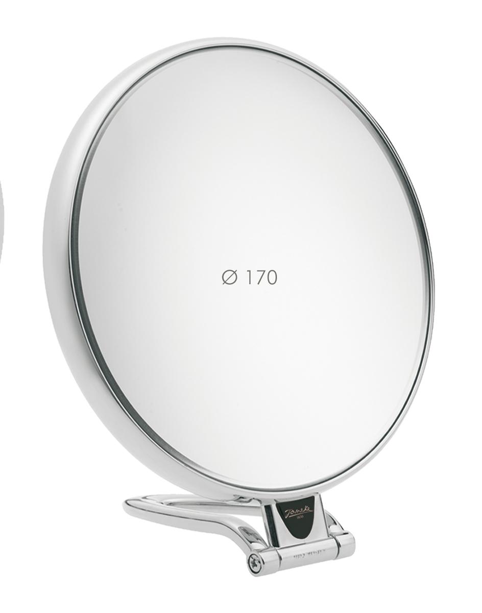Janeke Зеркало настольное D170, линзы ZEISS, хромированное, CR447.3.51493Марка Janeke – мировой лидер по производству расчесок, щеток, маникюрных принадлежностей, зеркал и косметичек. Марка Janeke, основанная в 1830 году, вот уже почти 180 лет поддерживает непревзойденное качество своей продукции, сочетая новейшие технологии с традициями ста- рых миланских мастеров. Все изделия на 80% производятся вручную, а инновационные технологии и современные материалы делают продукцию марки поистине уникальной. Стильный и эргономичный дизайн, яркие цветовые решения – все это приносит истин- ное удовольствие от использования аксессуаров Janeke. Зеркала для дома итальянской марки Janeke, изготовленные из высококачественных материалов и выполненные в оригинальном стильном дизайне, дополнят любой интерьер. Односторонние или двусторонние, с увеличением и без, на красивых и удобных подс- тавках – зеркала Janeke прослужат долго и доставят истинное удо- вольствие от использования