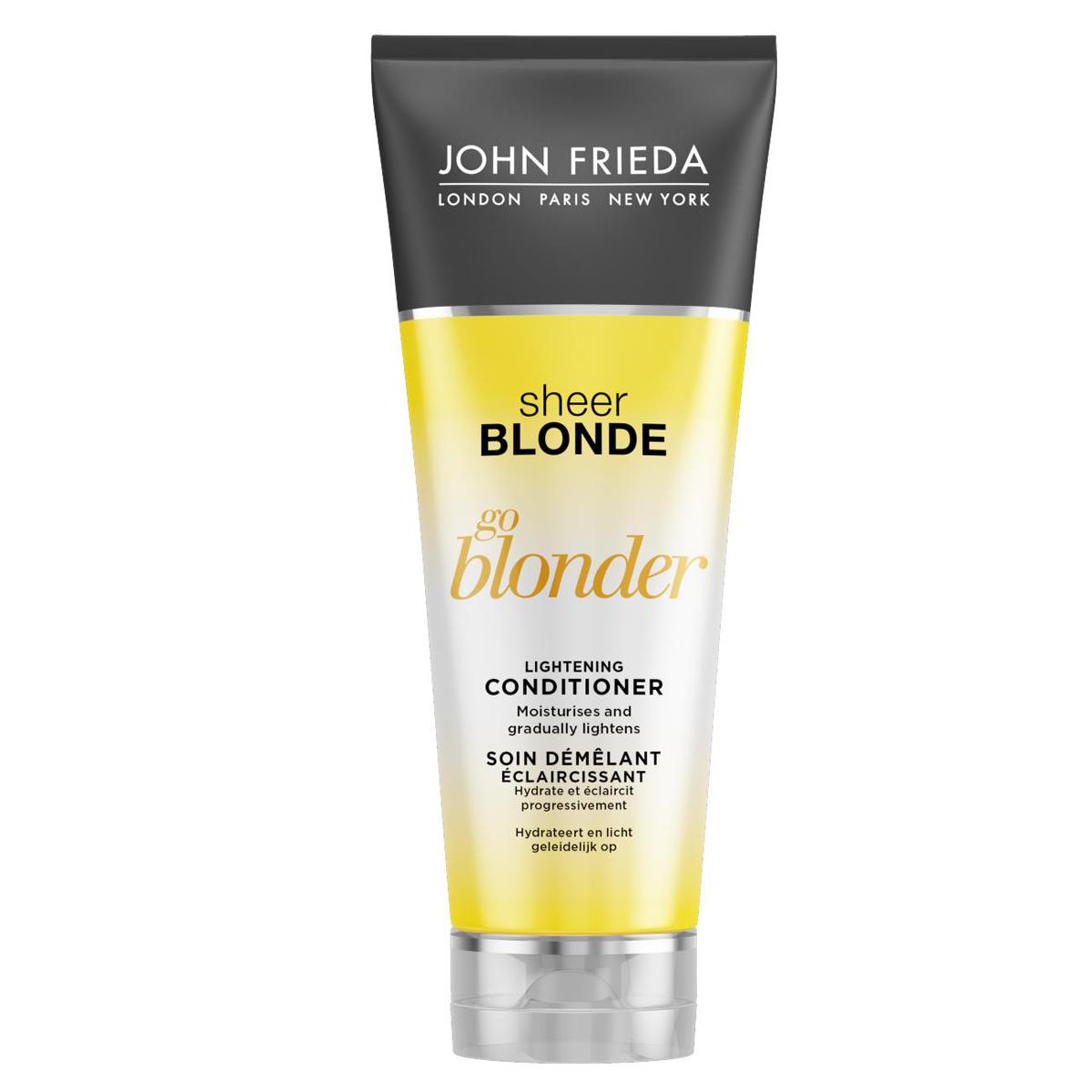 John Frieda Кондиционер осветляющий для натуральных, мелированных и окрашенных светлых волос, 250 млjf211220Увлажняет и постепенно создает эффект осветления. Увлажняет волосы, они становятся заметно светлее и ярче, усиливается естественный блеск светлых волос. Осветляющий кондиционер Go Blonder с цитрусом и ромашкой восстанавливает и увлажняет волосы, придает им мягкость и здоровый вид. Применение: Начните уход с использования шампуня Go Blonder, далее нанесите кондиционер на влажные волосы от корней до самых кончиков и затем тщательно смойте. Используйте ежедневного для достижения желаемого результата.