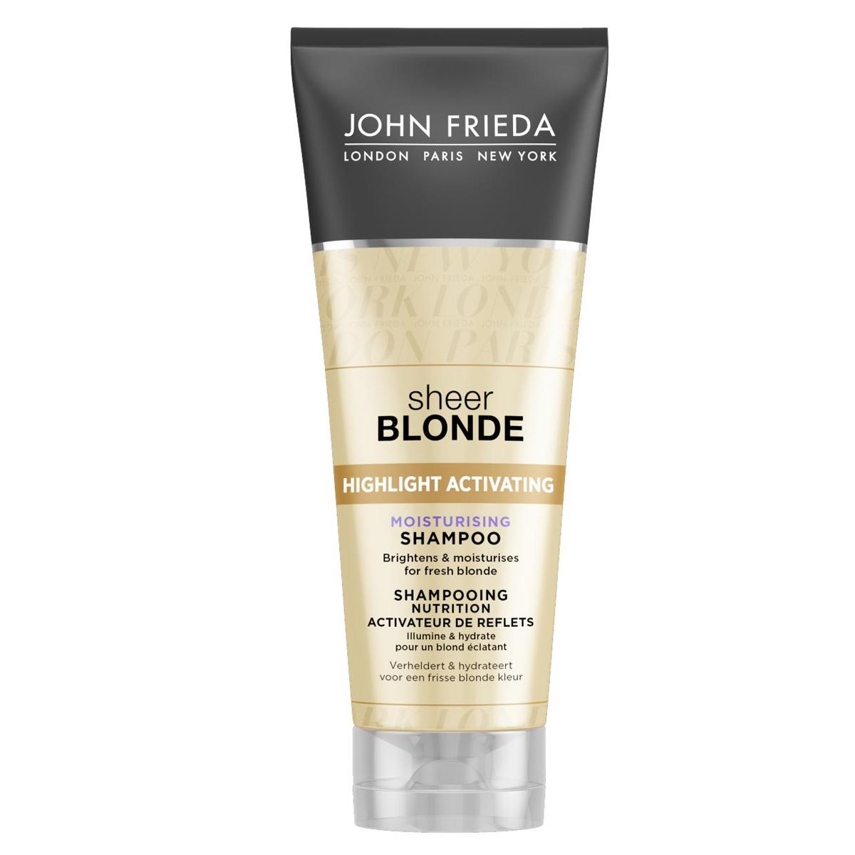 John Frieda Увлажняющий активирующий шампунь для оттенков светлый блондин, 250 млjf212110Увлажняет и возвращает сияние светлым волосам. Увлажняет и придает сияние светлым волосам. Формула увлажняющего шампуня содержит экстракты подсолнечника и белого чая, усиливает сияние любого оттенка светлых волос. Применение: Нанесите на влажные волосы, вспеньте и тщательно смойте. Для наилучшего результата и увлажнения волос далее используйте увлажняющий активирующий шампунь для светлых волос Sheer Blonde. НЕ ОКРАШИВАЕТ ВОЛОСЫ *Безопасен для натуральных, окрашенных и мелированных волос. Характеристики: Объем: 250 мл. Производитель: Великобритания. Товар сертифицирован.