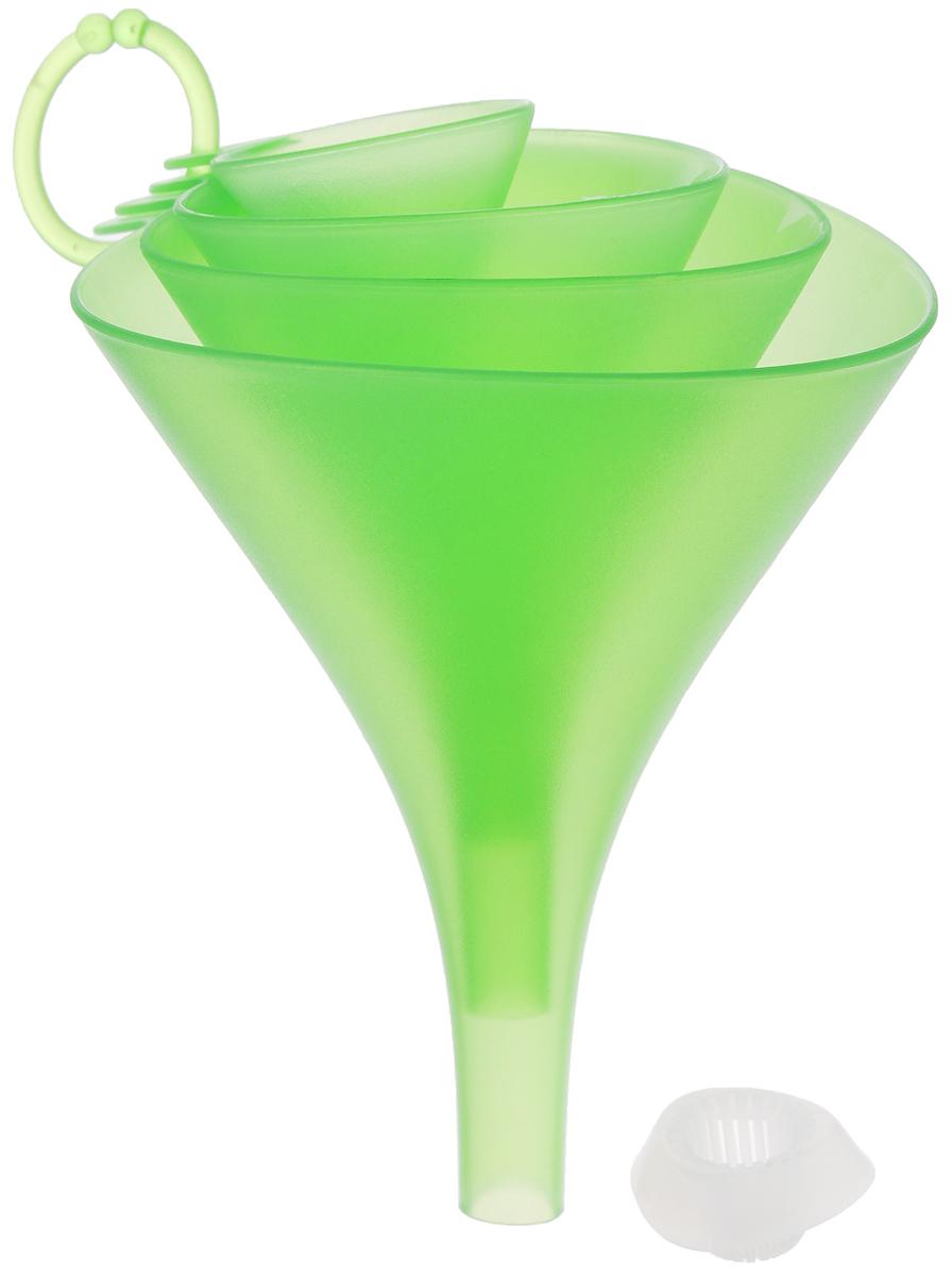 Набор воронок Tescoma Presto, с ситом, цвет: зеленый, 4 шт420596_зеленыйНабор воронок Tescoma Presto состоит из 4 воронок, изготовленных из первоклассной стойкой пластмассы. Прекрасно подходят для заливки и процеживания жидкостей в малые и большие емкости, оснащены универсальным ситом, которое не забивается и подходит для всех четырех воронок. Благодаря треугольной форме воронки не катаются по столу. Такие воронки станут прекрасным дополнением к коллекции ваших кухонных аксессуаров. Можно мыть в посудомоечной машине. Диаметр воронок: 13 см; 11 см; 9 см; 5 см. Высота воронок: 17 см; 14 см; 11 см; 7 см. Размер сита: 4 х 4 х 2 см.