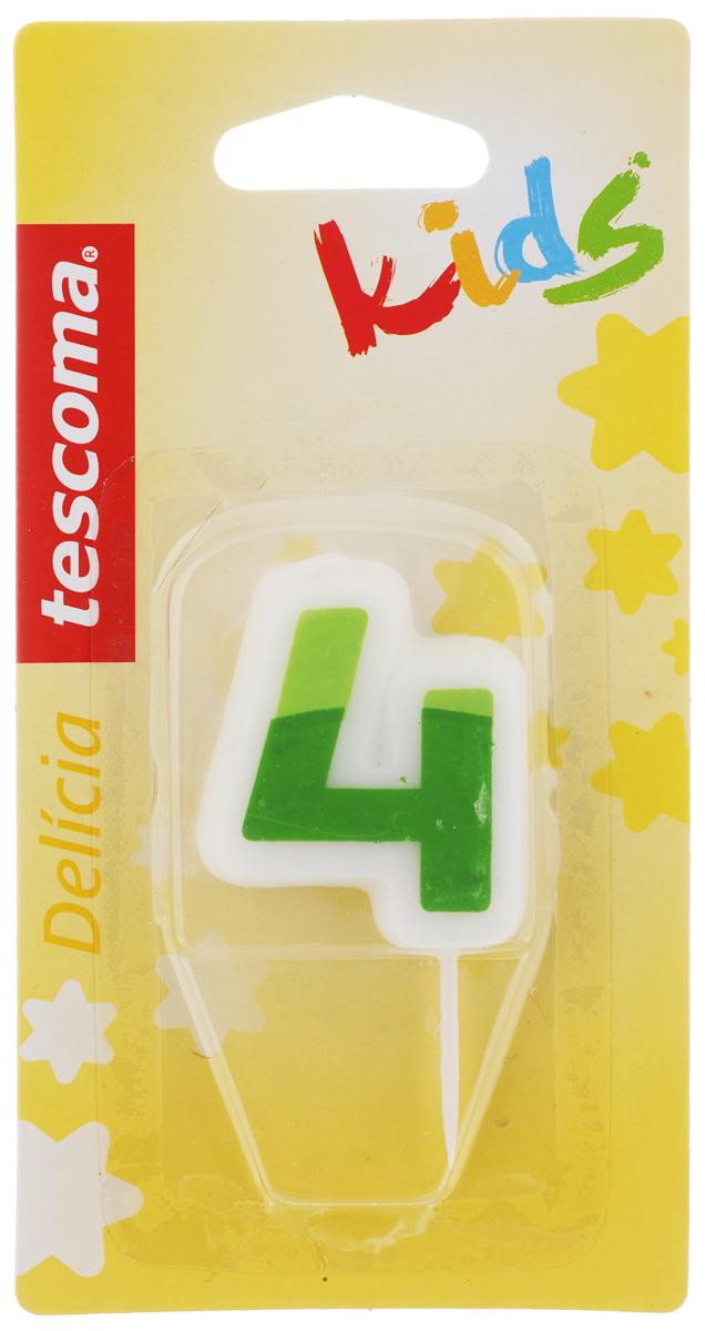 Свеча для торта Tescoma Delicia Kids, четверка, цвет: белый, зеленый630974Свеча для торта Tescoma Delicia Kids изготовлена из высококачественного парафина, фитиль - натуральное волокно. Это отличное решение для декорирования торта к празднику. Ее можно комбинировать с другими цифрами. Изделие хорошо и долго горит. С этой свечой ваш праздник станет еще удивительнее и веселее. Высота свечи (без учета иглы): 4,5 см.