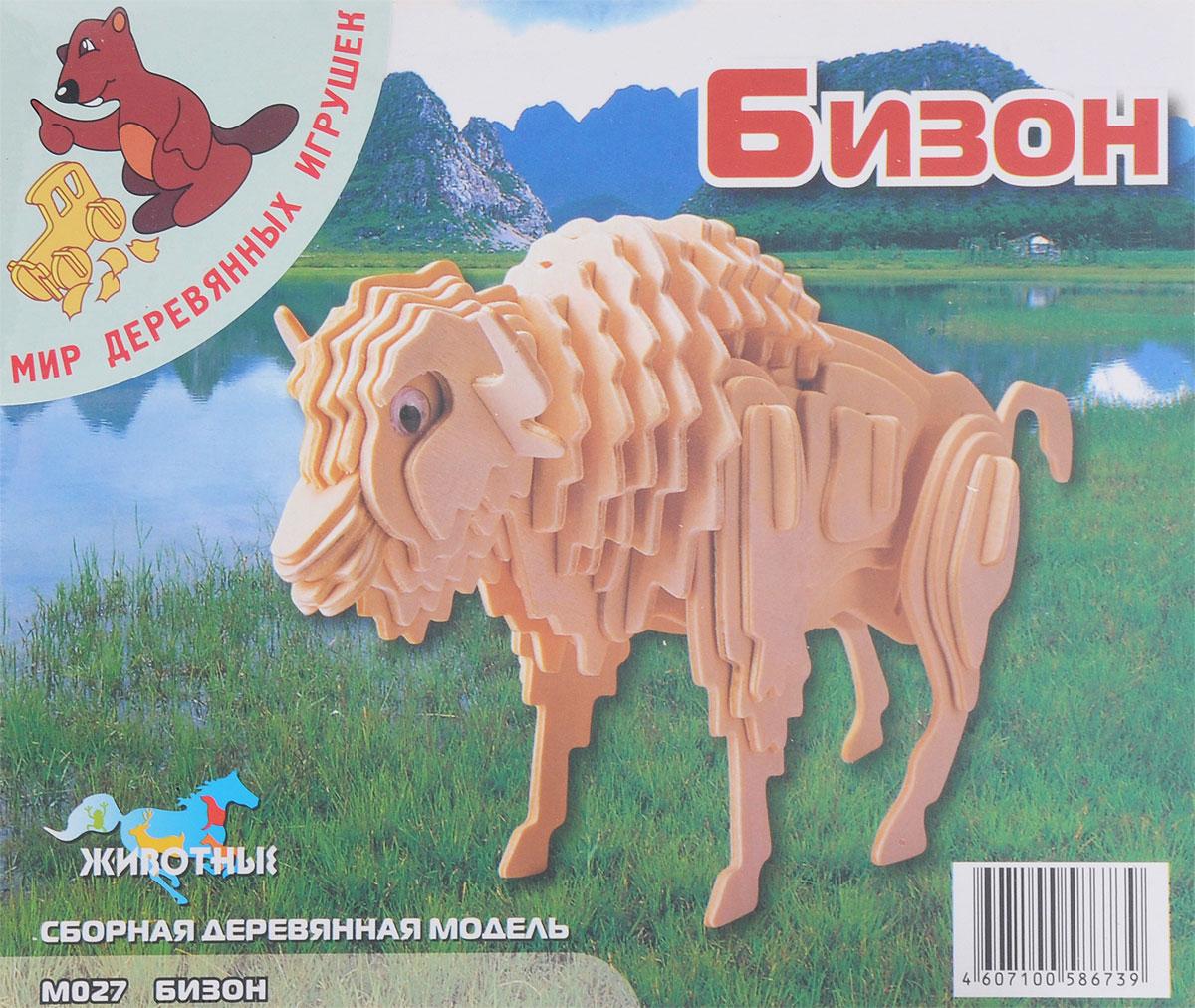 Мир деревянных игрушек Деревянная модель БизонМ027Деревянная модель Игрушки из дерева Бизон выполнена из экологически чистой древесины, не содержит формальдегид. Детали модели выдавливаются из фанерной доски и собираются согласно инструкции. Лучше всего проклеивать места соединения клеем сразу при сборке, так собранная вами модель будет дольше радовать вас. Вы можете раскрасить вашу модель, используя любые краски. В этом случае нужно заранее продумать как общий дизайн модели, так и окраску каждой детали. При сборке модели развивается моторика рук, усидчивость, внимательность, пространственное и абстрактное мышления. Производитель рекомендует использовать темперные краски. После можно покрыть лаком.