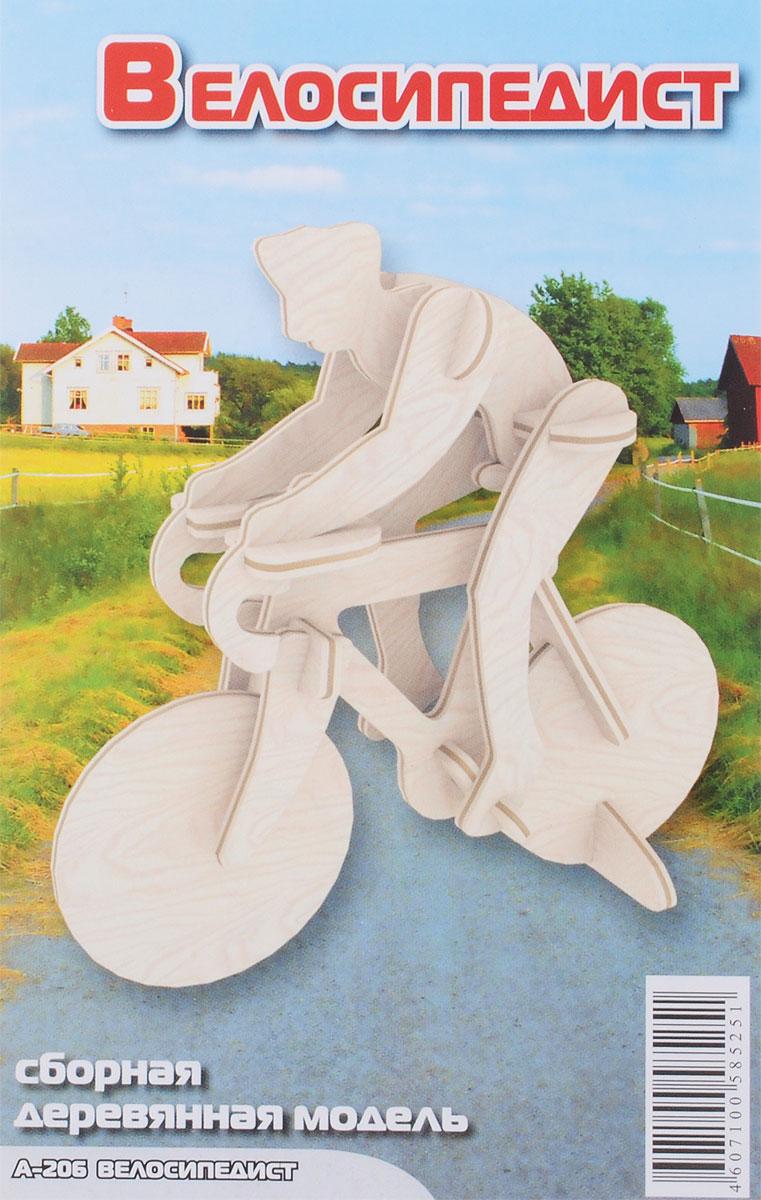 Мир деревянных игрушек Деревянная модель ВелосипедистА206Деревянная модель Игрушки из дерева Велосипедист выполнена из экологически чистой древесины, не содержит формальдегид. Конструктор развивает моторику рук, усидчивость, внимательность, пространственное и абстрактное мышления. Детали модели выдавливаются из фанерной доски и собираются согласно инструкции. Лучше всего проклеивать места соединения клеем сразу при сборке, так собранная вами модель будет дольше радовать вас. Вы можете раскрасить вашу модель, используя любые краски. В этом случае нужно заранее продумать как общий дизайн модели, так и окраску каждой детали. Производитель рекомендует использовать темперные краски. После можно покрыть лаком.