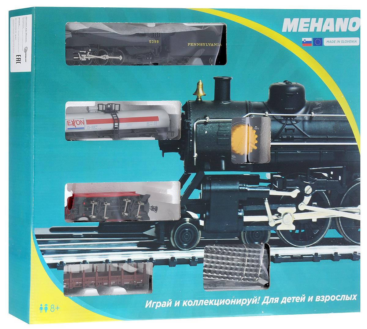 Mehano Железная дорога Prestige с паровозом Pennsylvania 5399PR01-006Железная дорога Mehano - миниатюрная копия грузового состава. Мельчайшие детали паровозов, тепловозов и грузовых вагонов, каждая рельефная линия экстерьера тщательно проработаны, благодаря чему состав выглядит более чем реально. Можно вообразить, как этот состав загрузили где-то на миниатюрном перевалочном пункте, а затем он аккуратно вез свой груз по длинным разветвленным путям… Воплотить воображаемое в действительность очень легко: при желании железнодорожное полотно можно увеличить и добавить элементы ландшафта, ведь все элементы железных дорог Mehano совместимы друг с другом. При желании, можно докупить стрелку, перекресток и состав может двигаться на другие участки железной дороги. Рельсы металлические, колеса паровозов и вагонов выполнены из металла. Все элементы комплекта совместимы с другими сборными моделями железной дороги Mehano, так что юный машинист сможет прокладывать различные маршруты, строить новые станции и придумывать неповторимый, свой собственный...